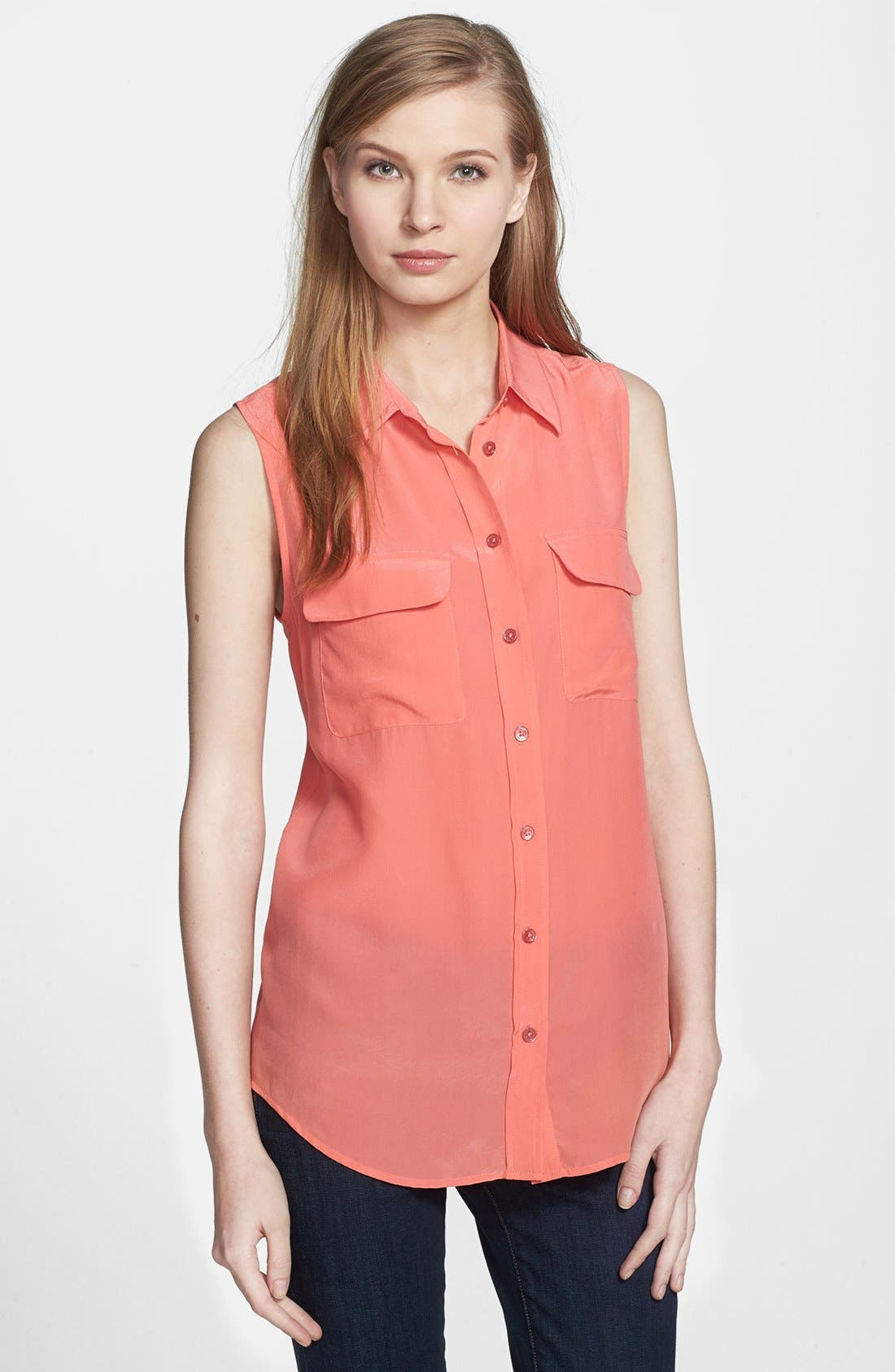 'Slim Signature' Sleeveless Silk Shirt,                             Main thumbnail 49, color,