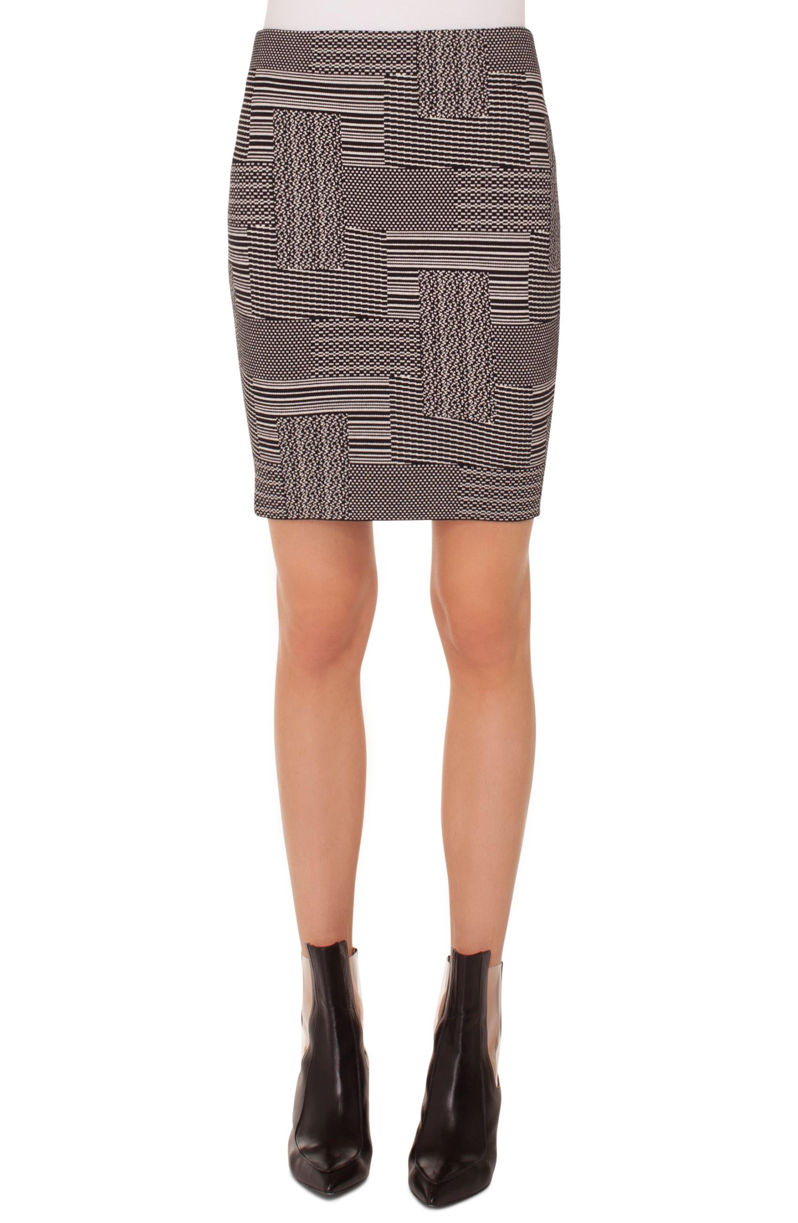 Patchwork Jacquard Miniskirt,                         Main,                         color, BLACK-CREAM