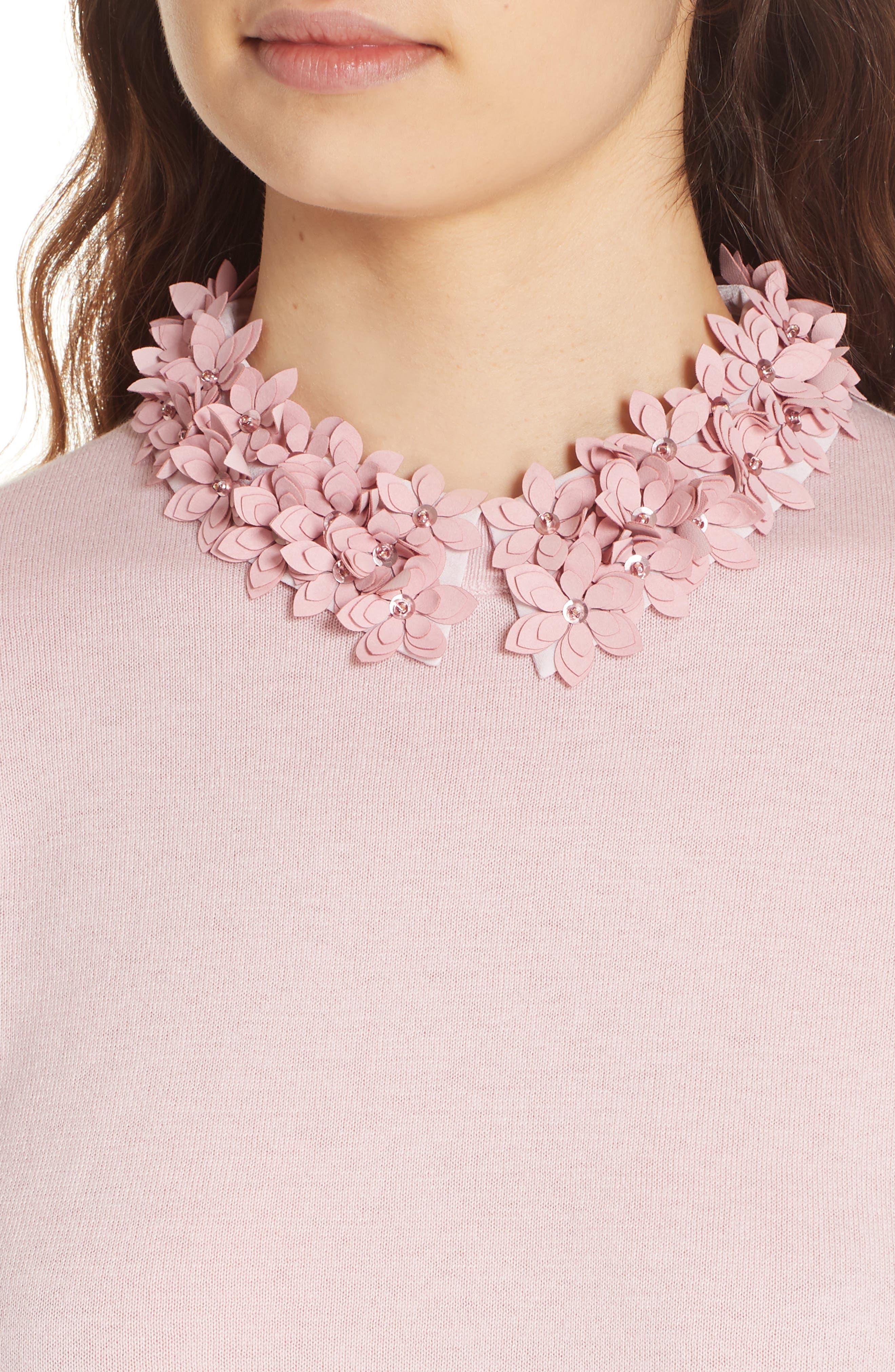 Nansea Floral Collar Tiered Hem Sweater,                             Alternate thumbnail 4, color,                             PINK