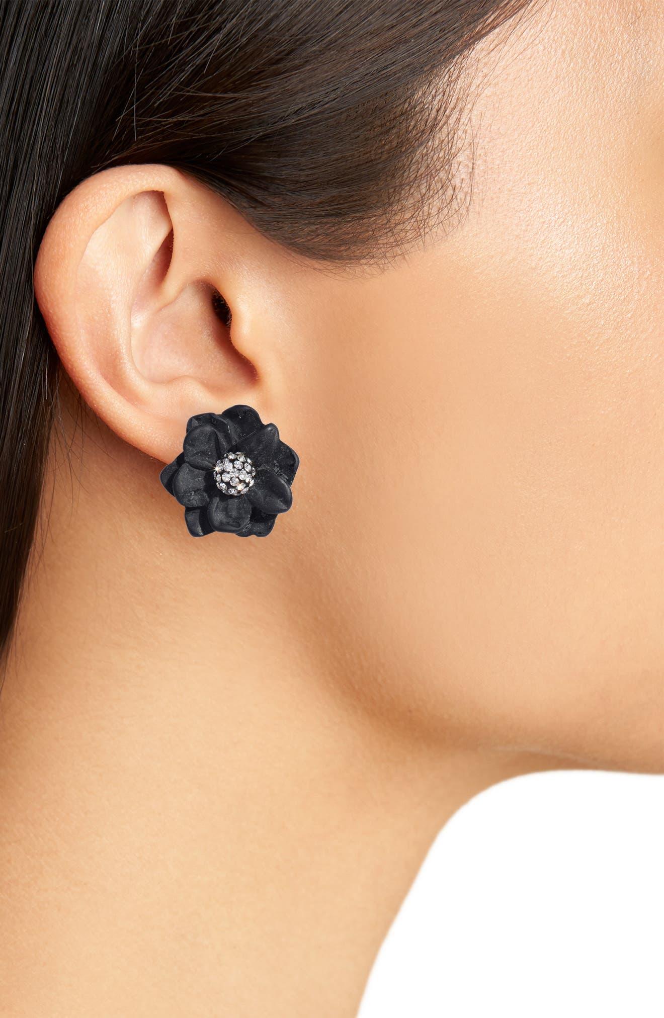 Gardenia Stud Earrings,                             Alternate thumbnail 2, color,                             JET