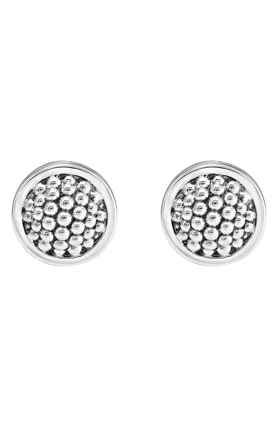 Caviar Stud Earrings,                             Alternate thumbnail 3, color,                             STERLING SILVER