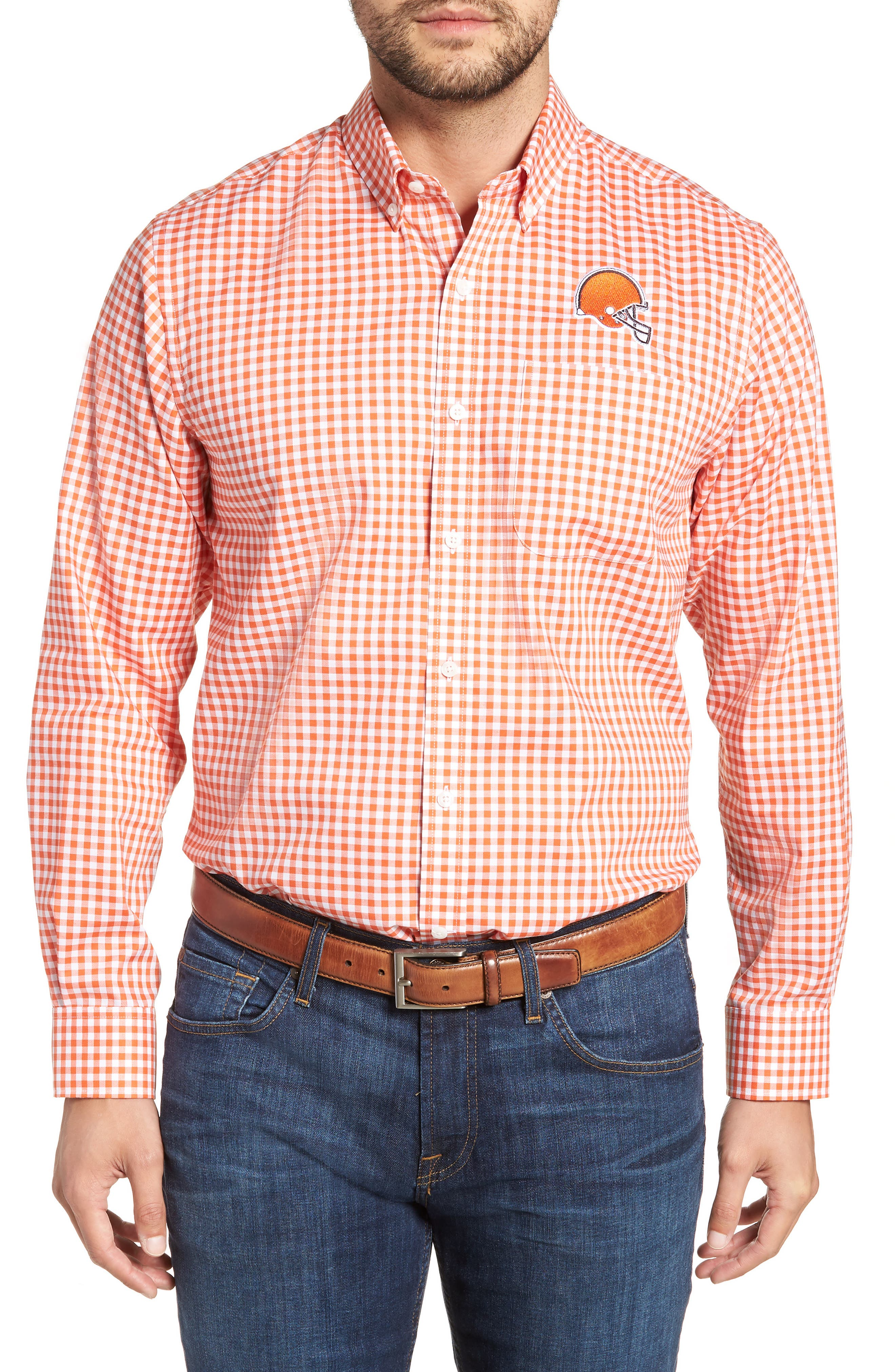 League Cleveland Browns Regular Fit Shirt,                             Main thumbnail 1, color,                             COLLEGE ORANGE
