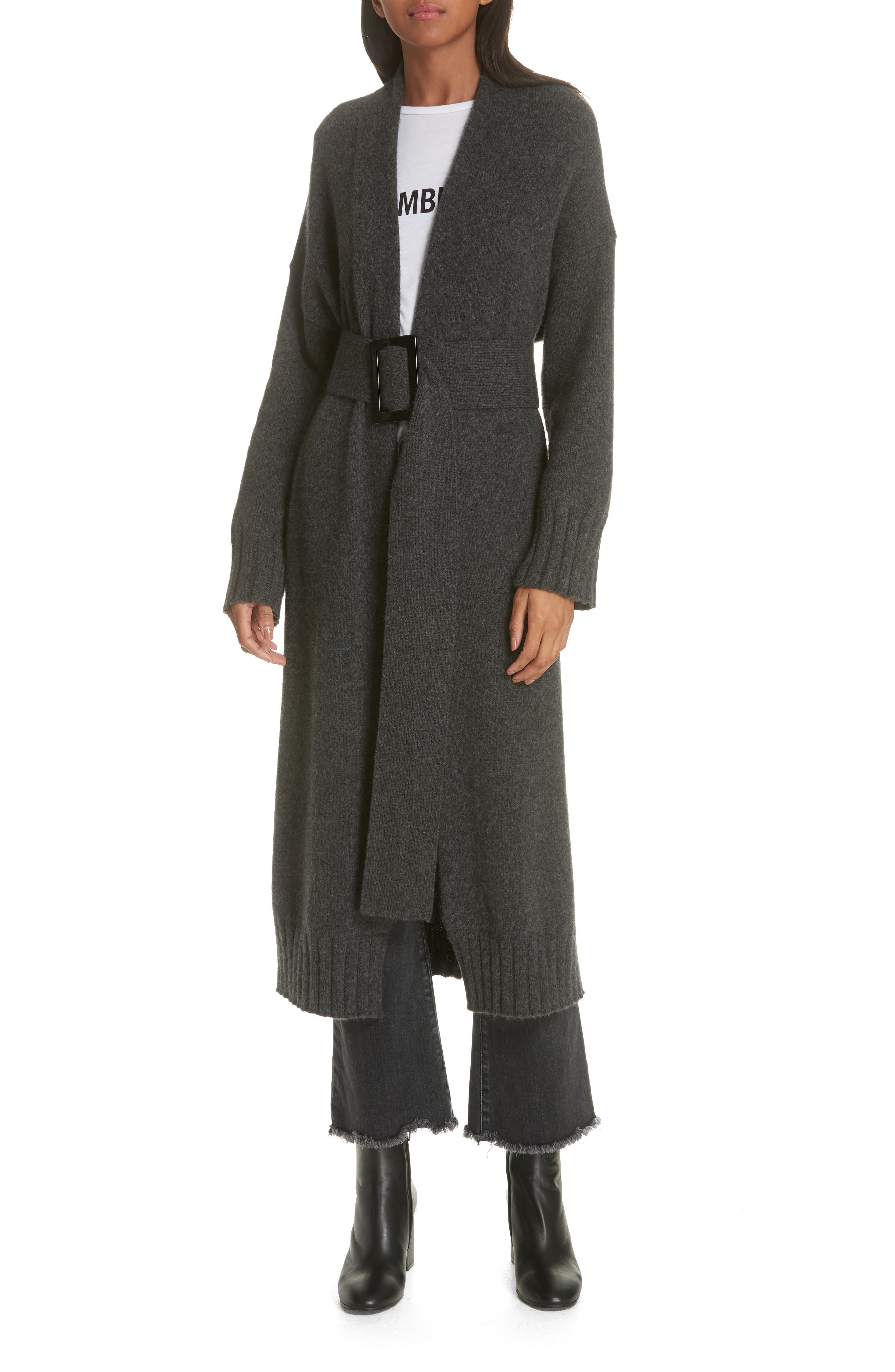 Allana Belted Merino Wool & Camel Hair Blend Cardigan, Main, color, CHARCOAL