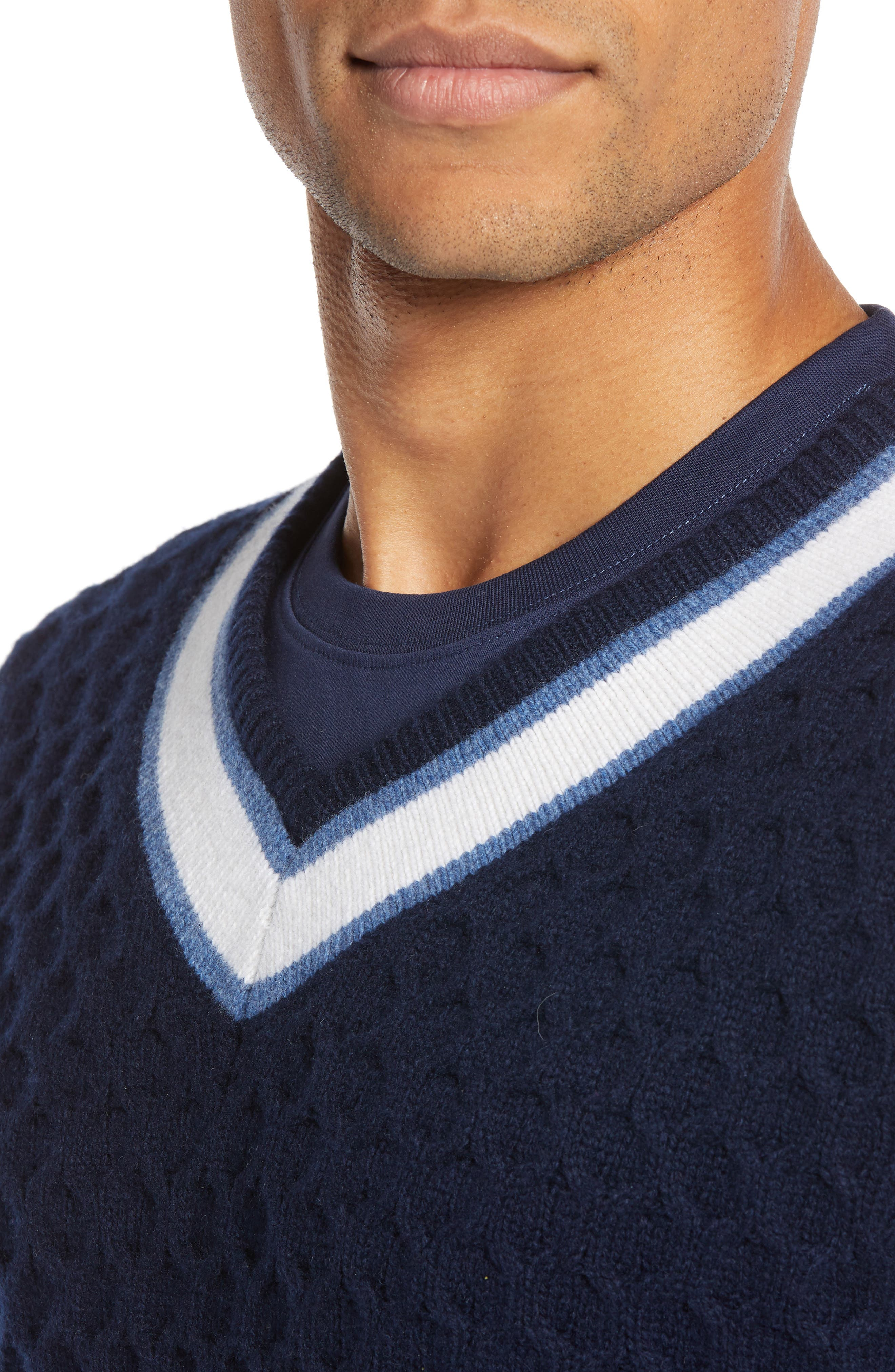Varsity Stripe V-Neck Wool Blend Sweater,                             Alternate thumbnail 4, color,                             NAVY IRIS