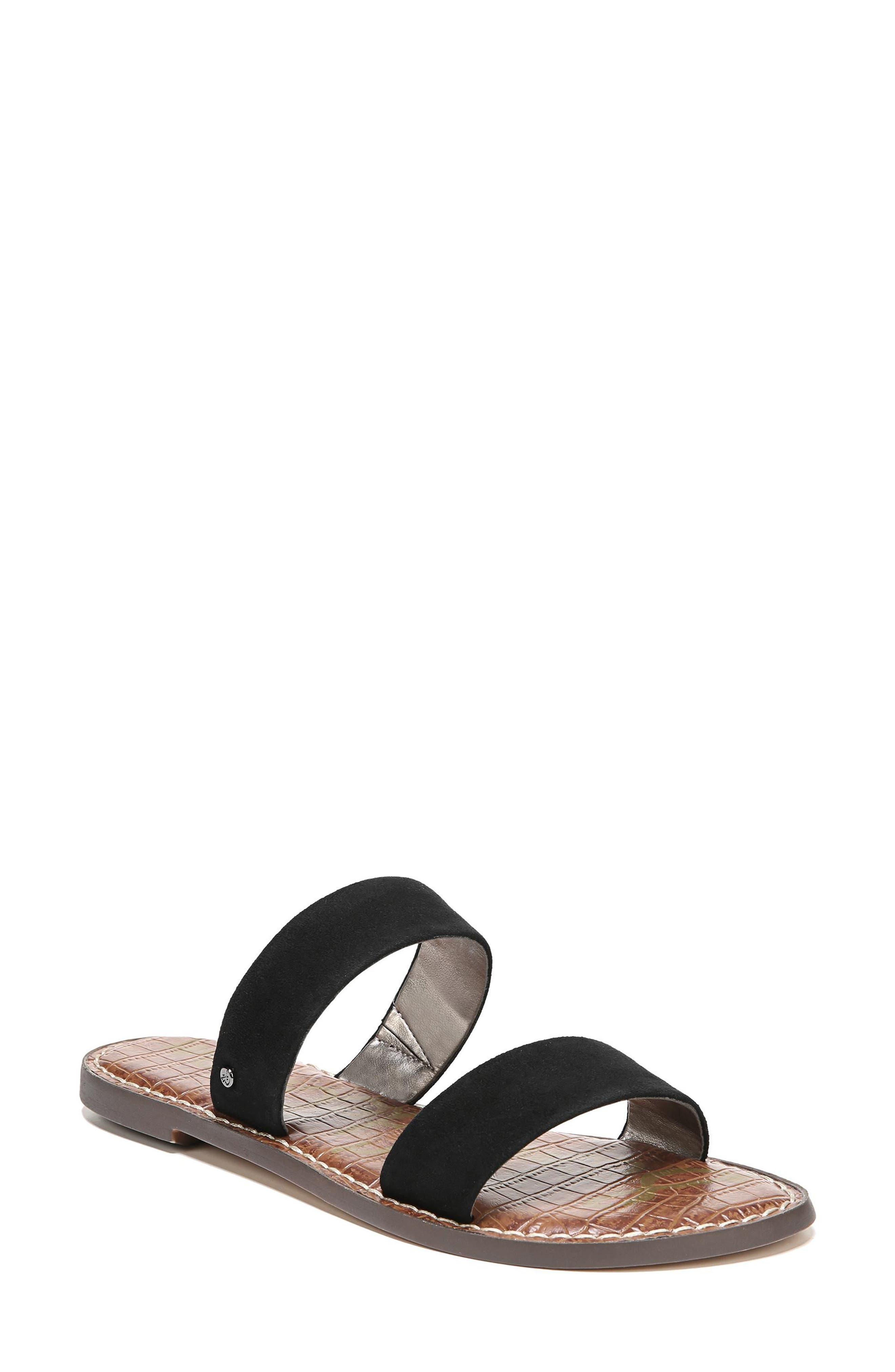 Gala Two Strap Slide Sandal,                         Main,                         color, BLACK SUEDE