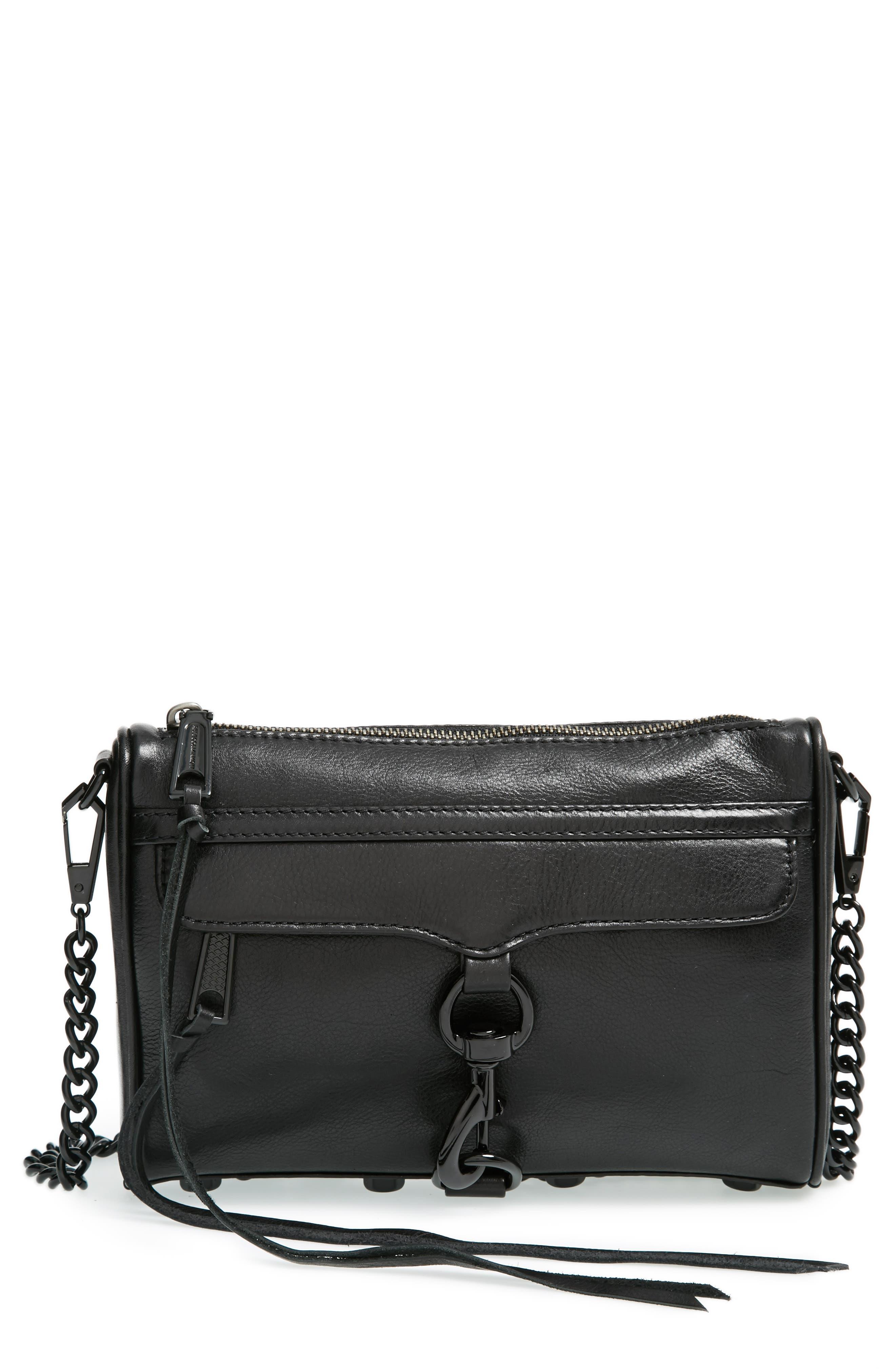 Mini MAC Convertible Crossbody Bag,                         Main,                         color, BLACK/ BLACK HRDWR