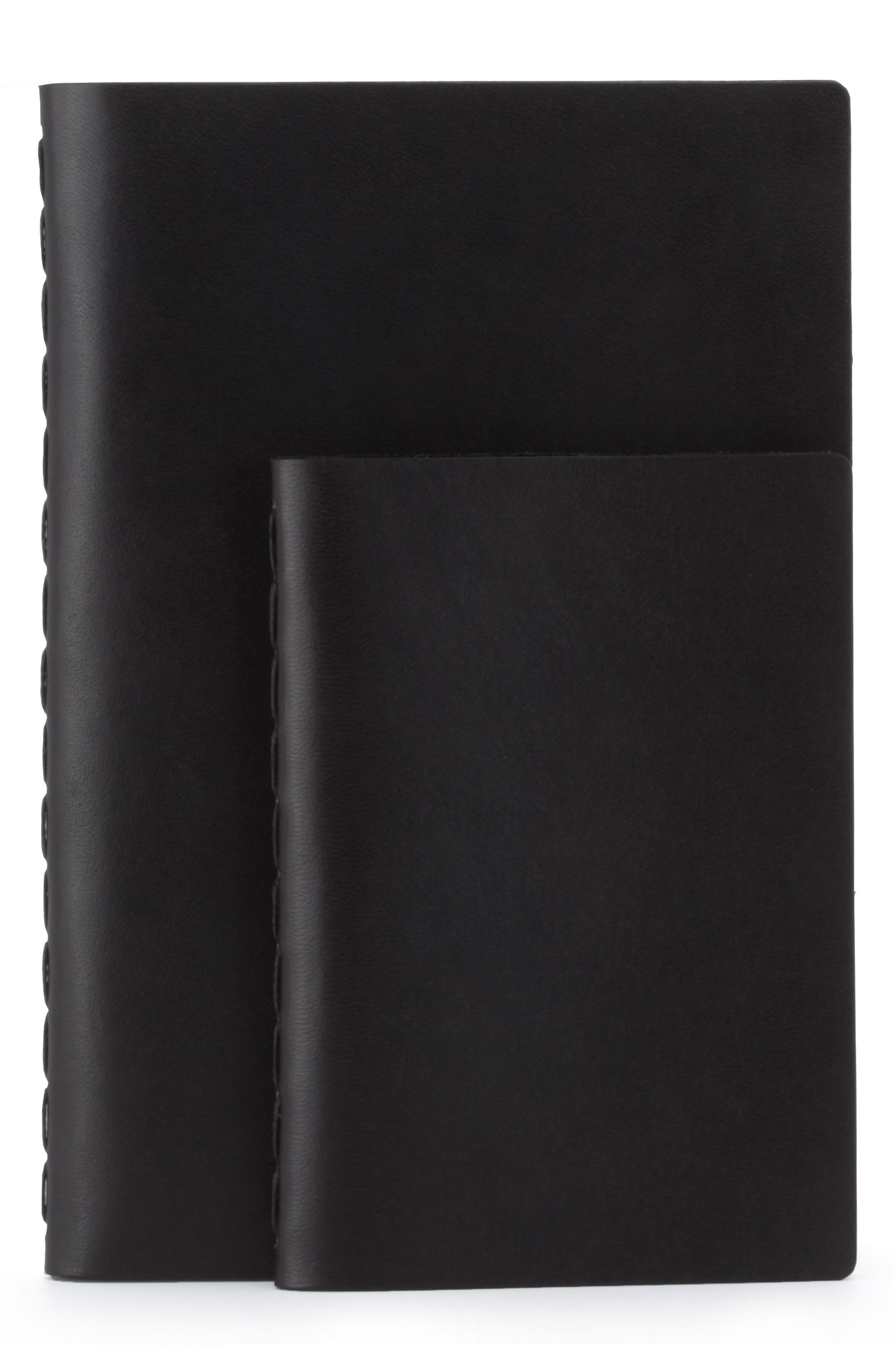 Medium Leather Notebook,                             Alternate thumbnail 3, color,                             JET