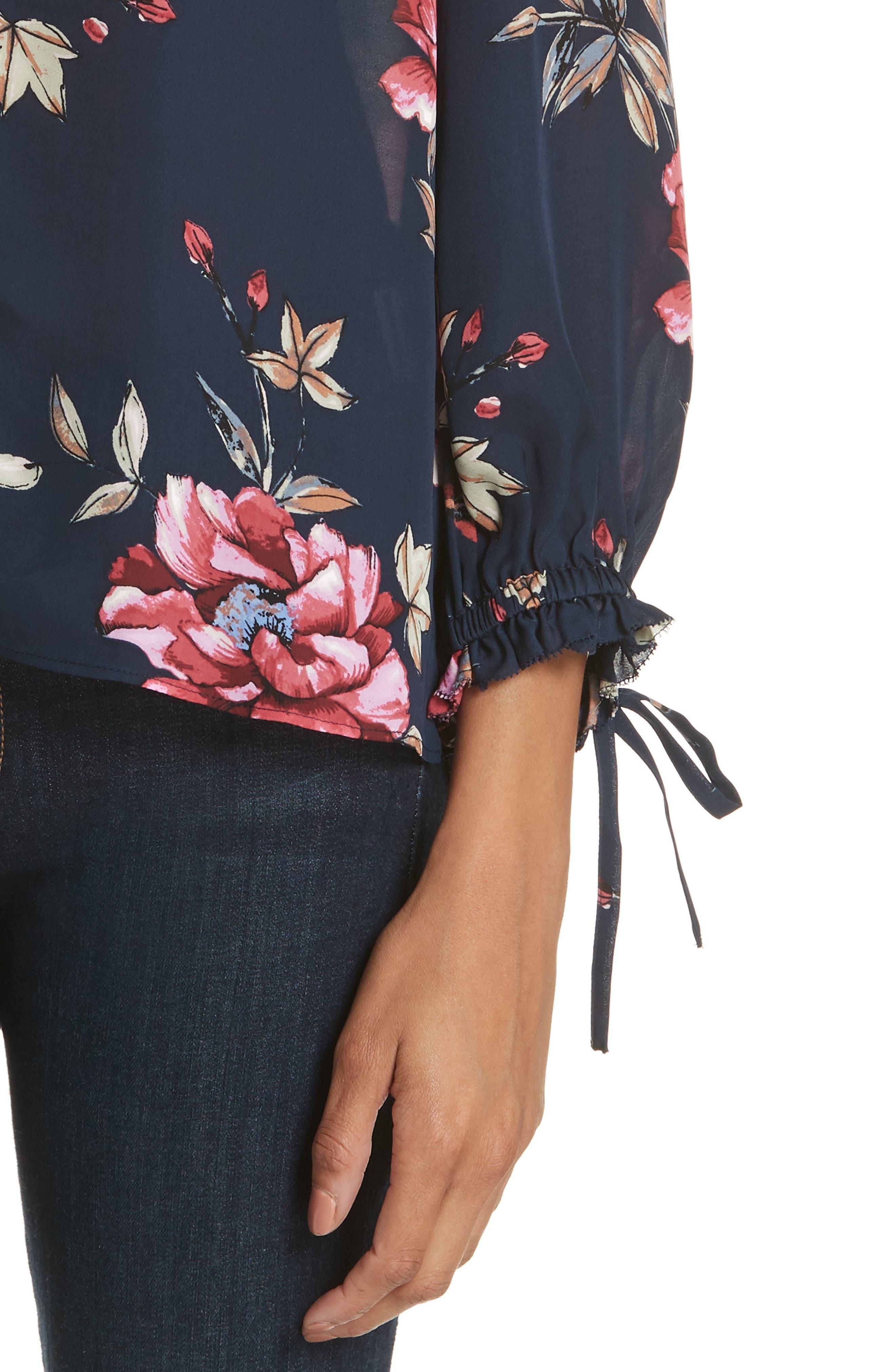 Corsen Floral Silk Blouse,                             Alternate thumbnail 4, color,                             410