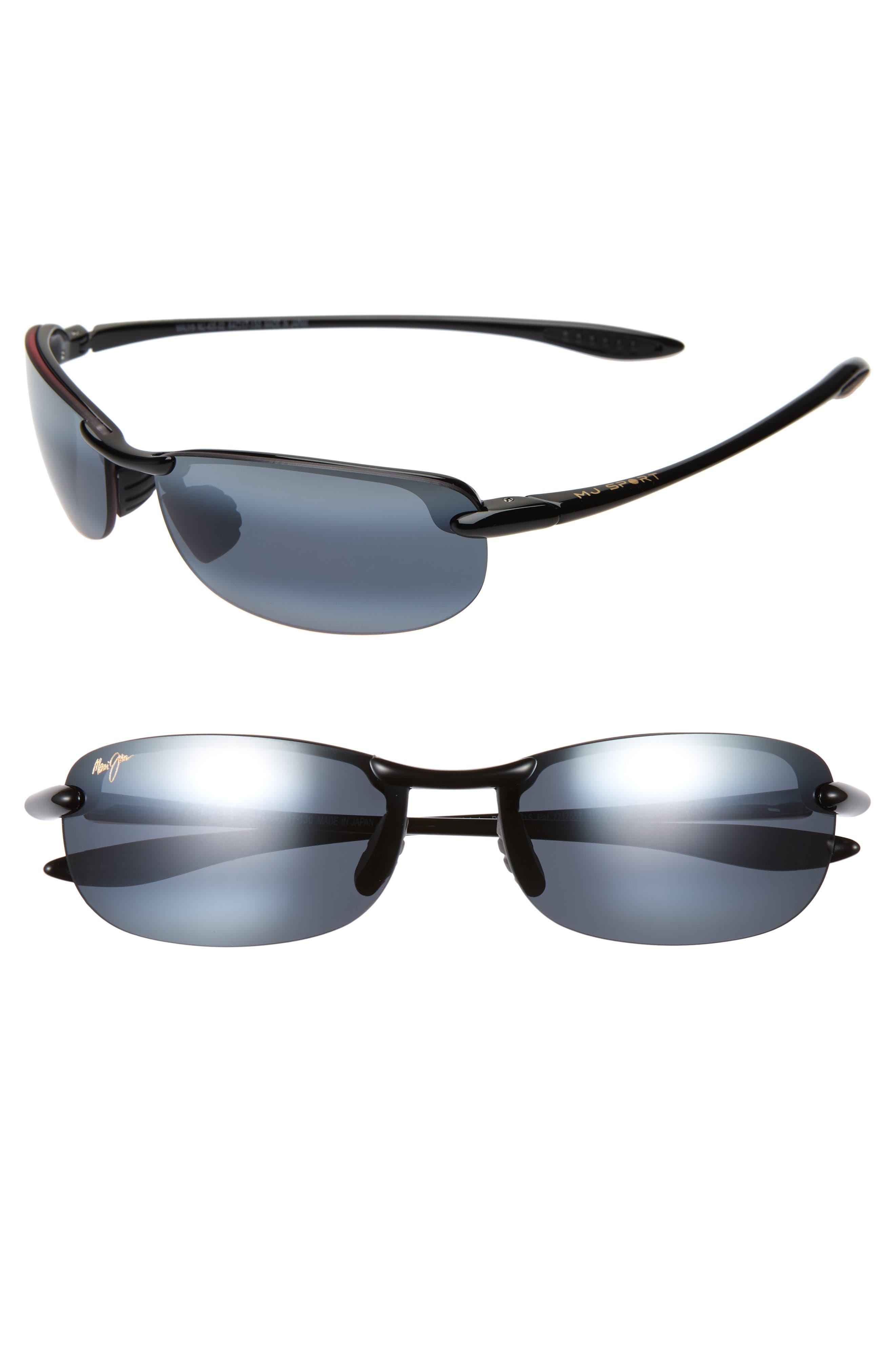 MAUI JIM,                             'Makaha - PolarizedPlus<sup>®</sup>2' 63mm Sunglasses,                             Alternate thumbnail 2, color,                             BLK