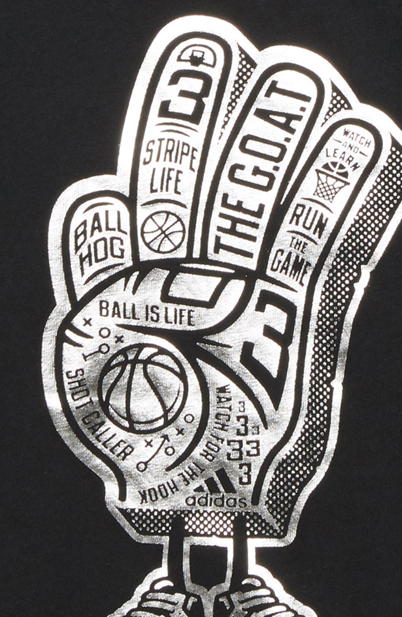 Foam Finger Graphic T-Shirt,                             Alternate thumbnail 2, color,                             BLACK