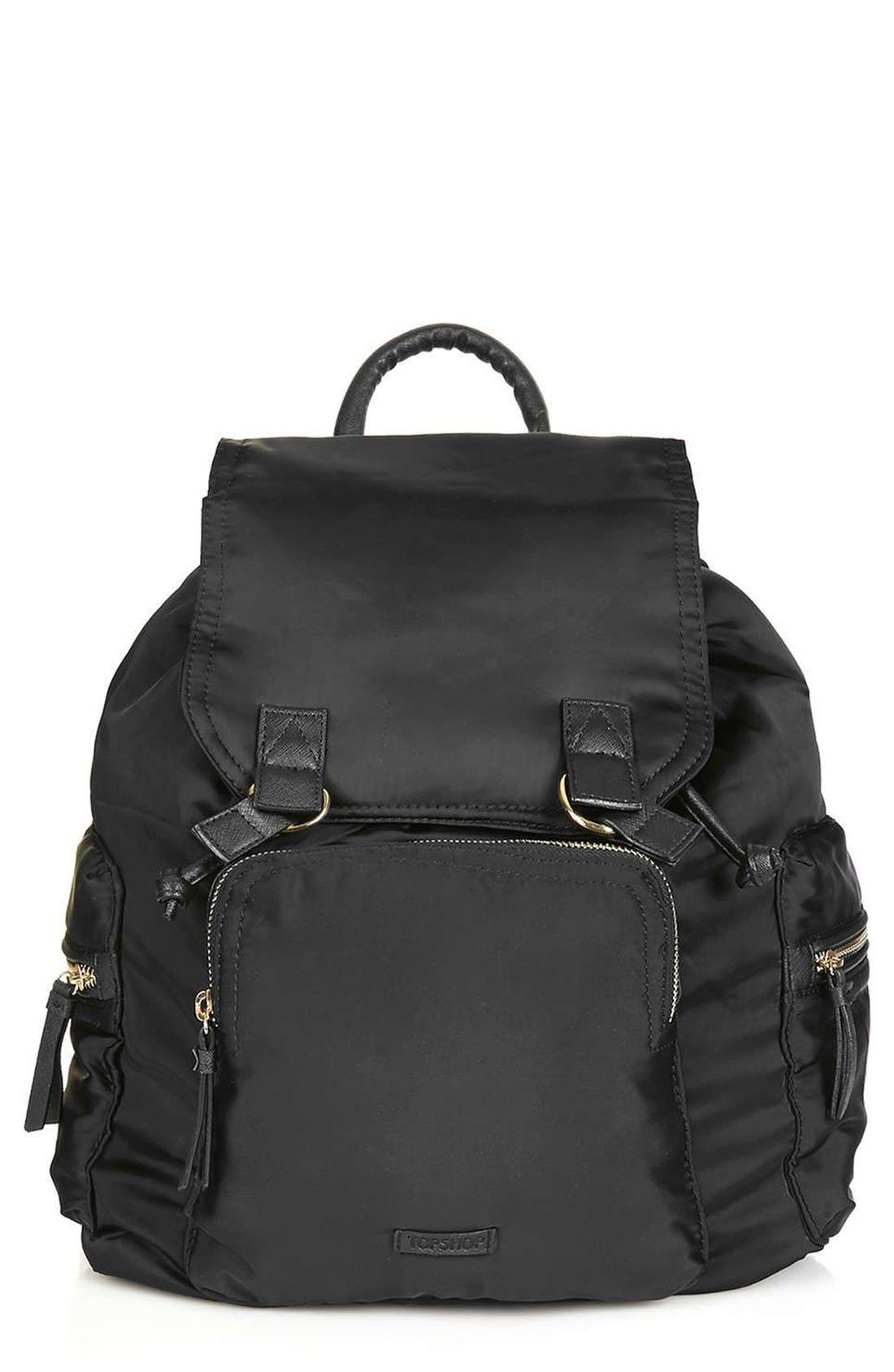 TOPSHOP Nylon Backpack, Main, color, 001