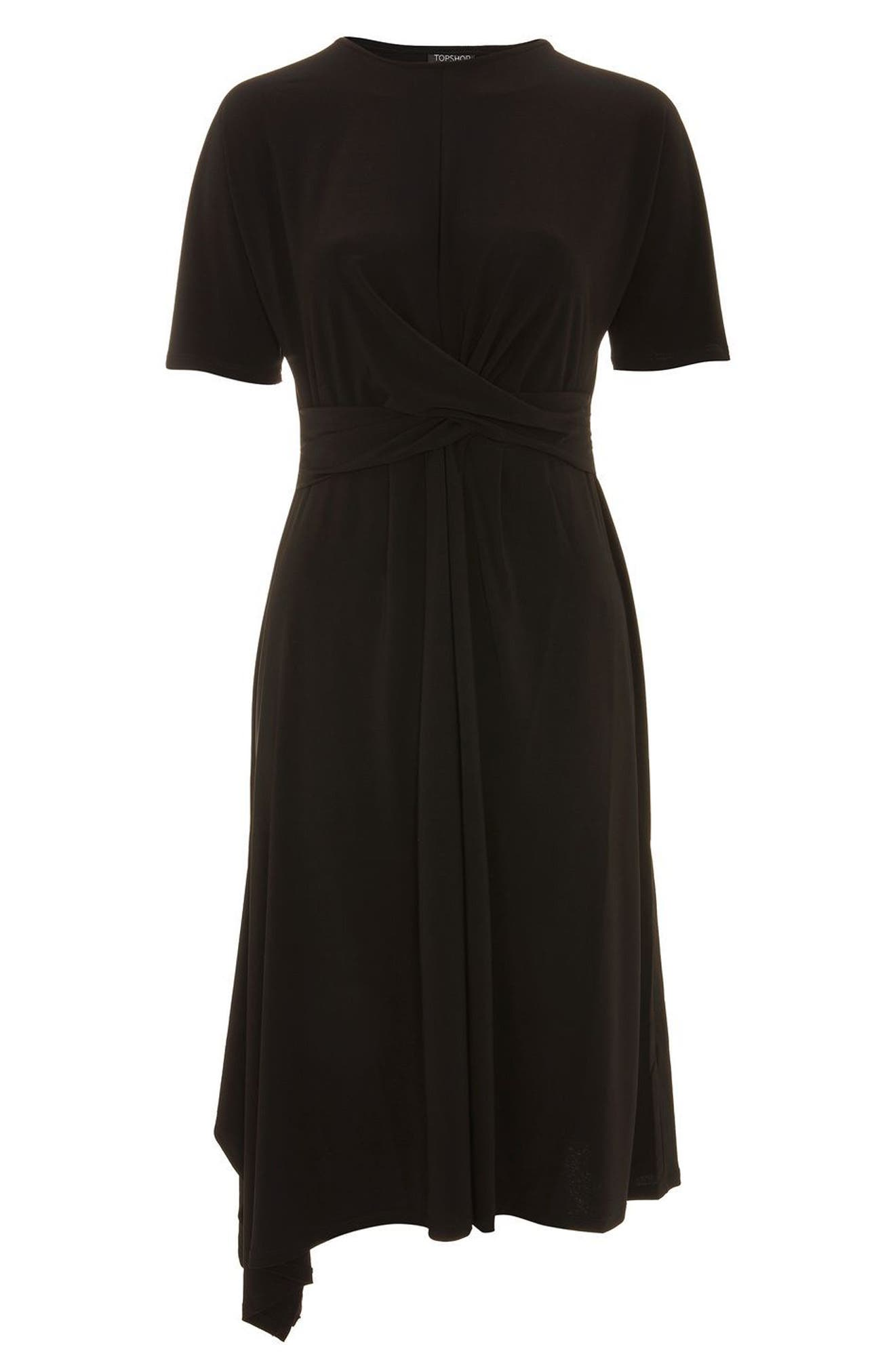 Twist Front Jersey Midi Dress,                             Alternate thumbnail 3, color,                             001
