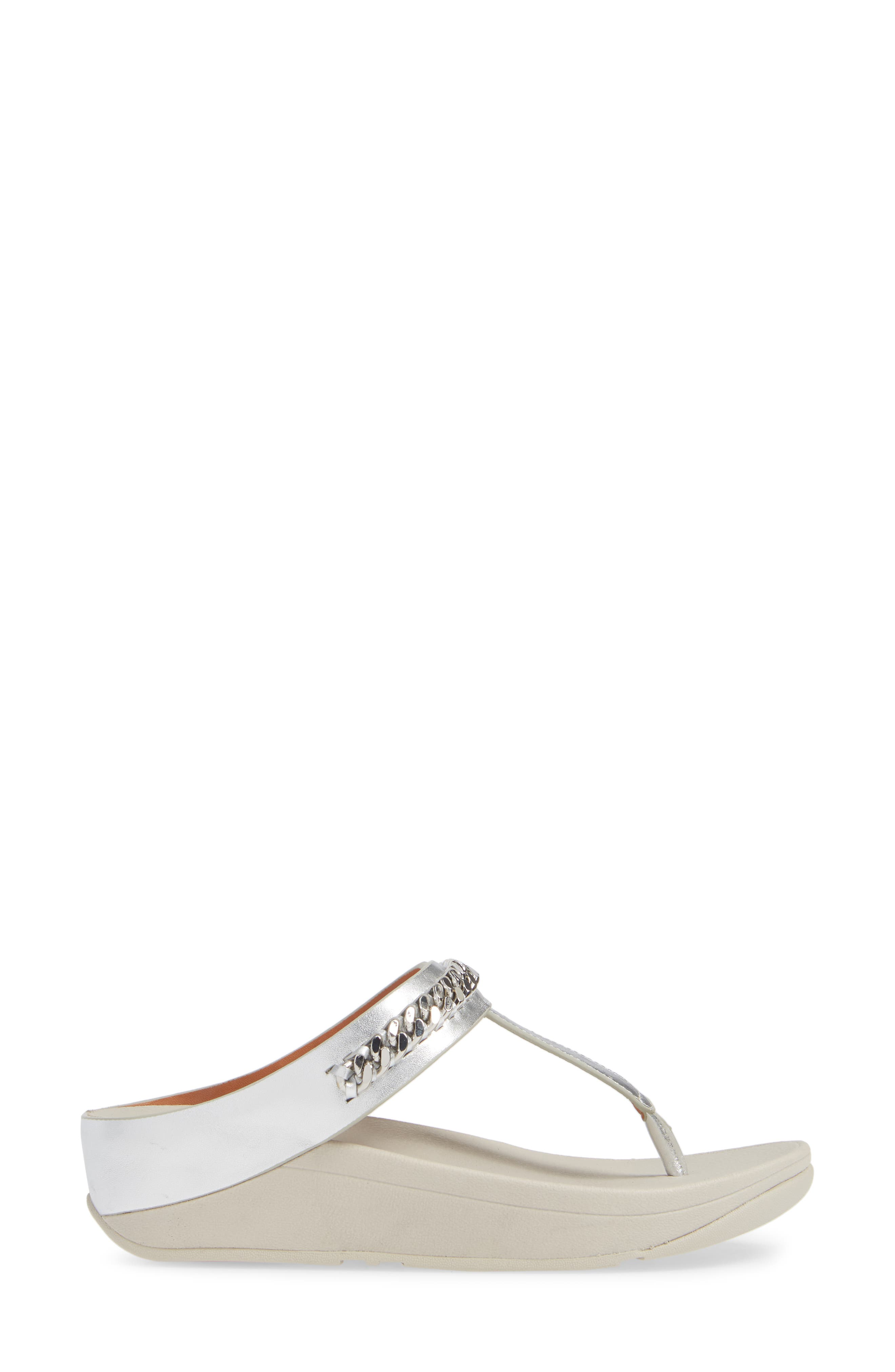 Fino Flip Flop,                             Alternate thumbnail 3, color,                             SILVER LEATHER