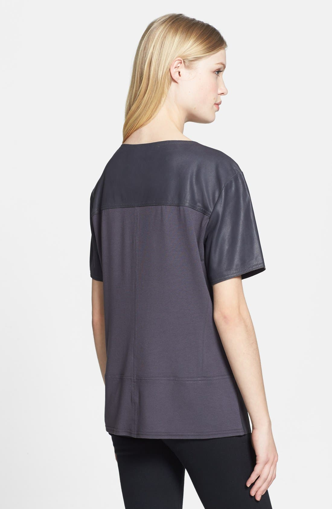 Leather Front Tee,                             Alternate thumbnail 3, color,                             021