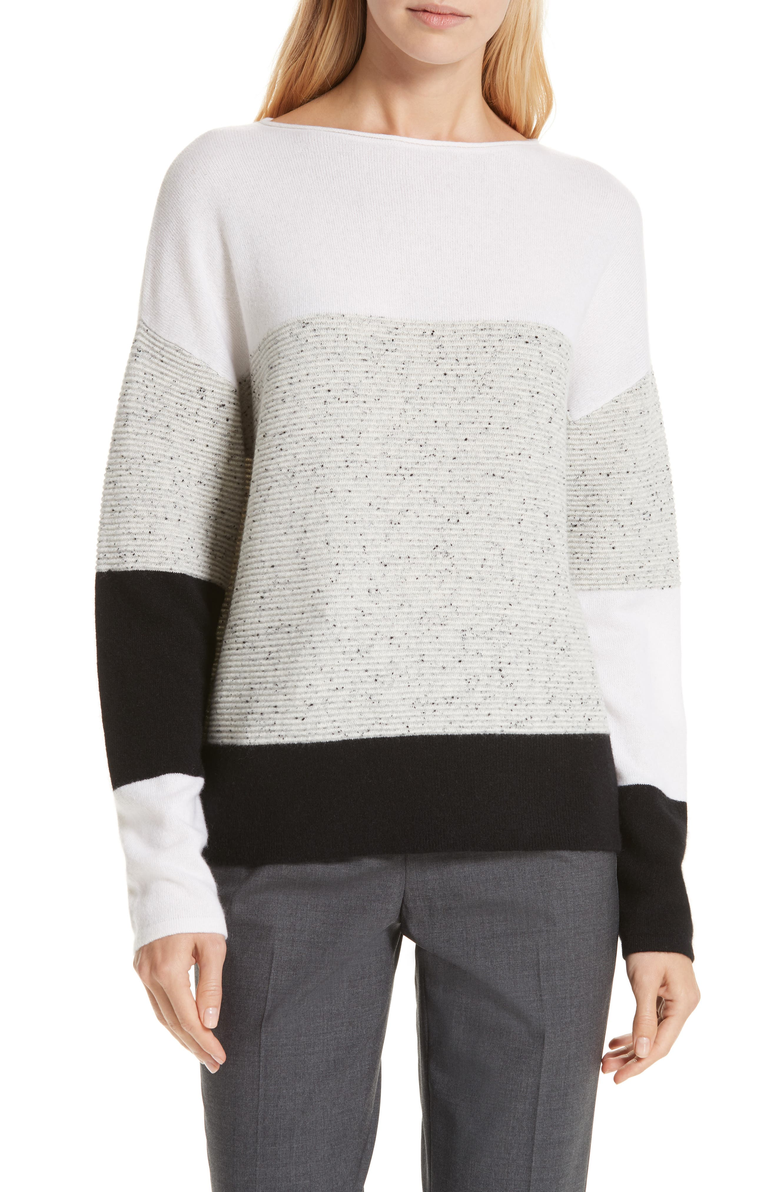 Colorblock Cashmere Sweater,                             Main thumbnail 1, color,                             IVORY SOFT MULTI COLOR BLOCK