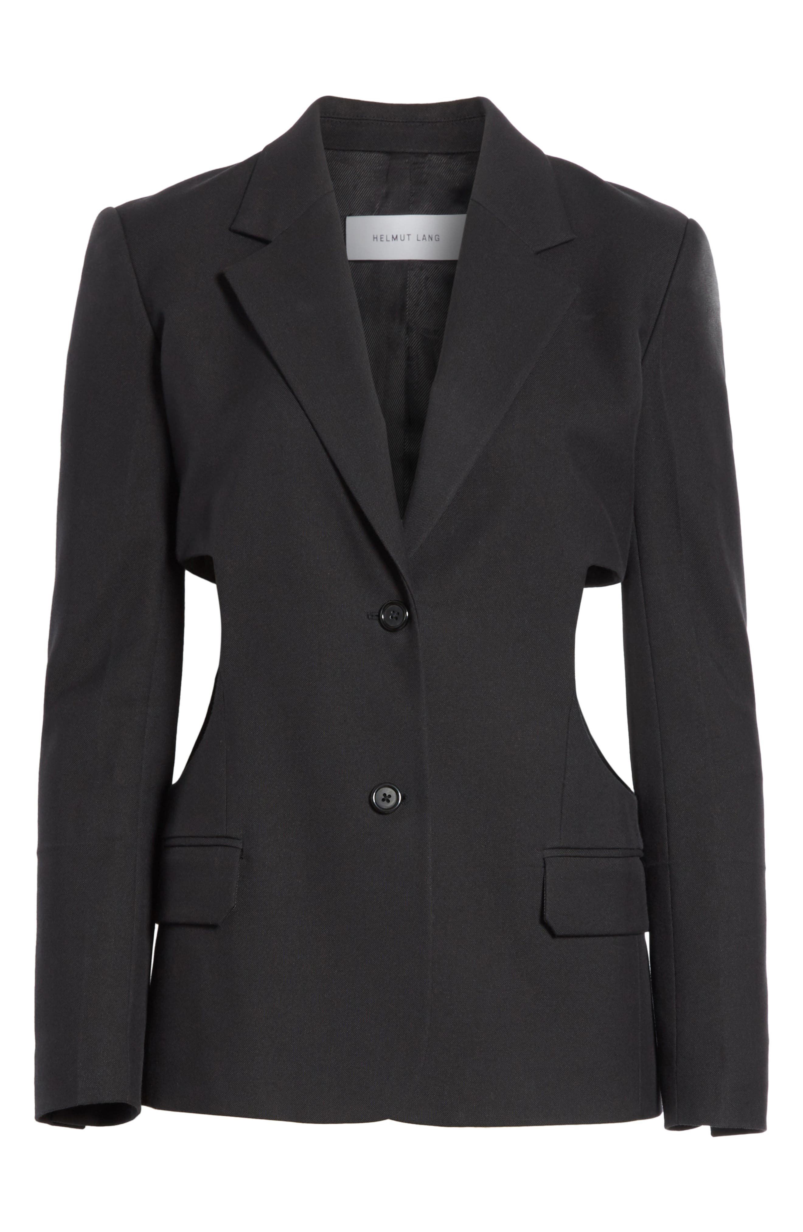 HELMUT LANG,                             Cutout Waist Blazer,                             Alternate thumbnail 5, color,                             001