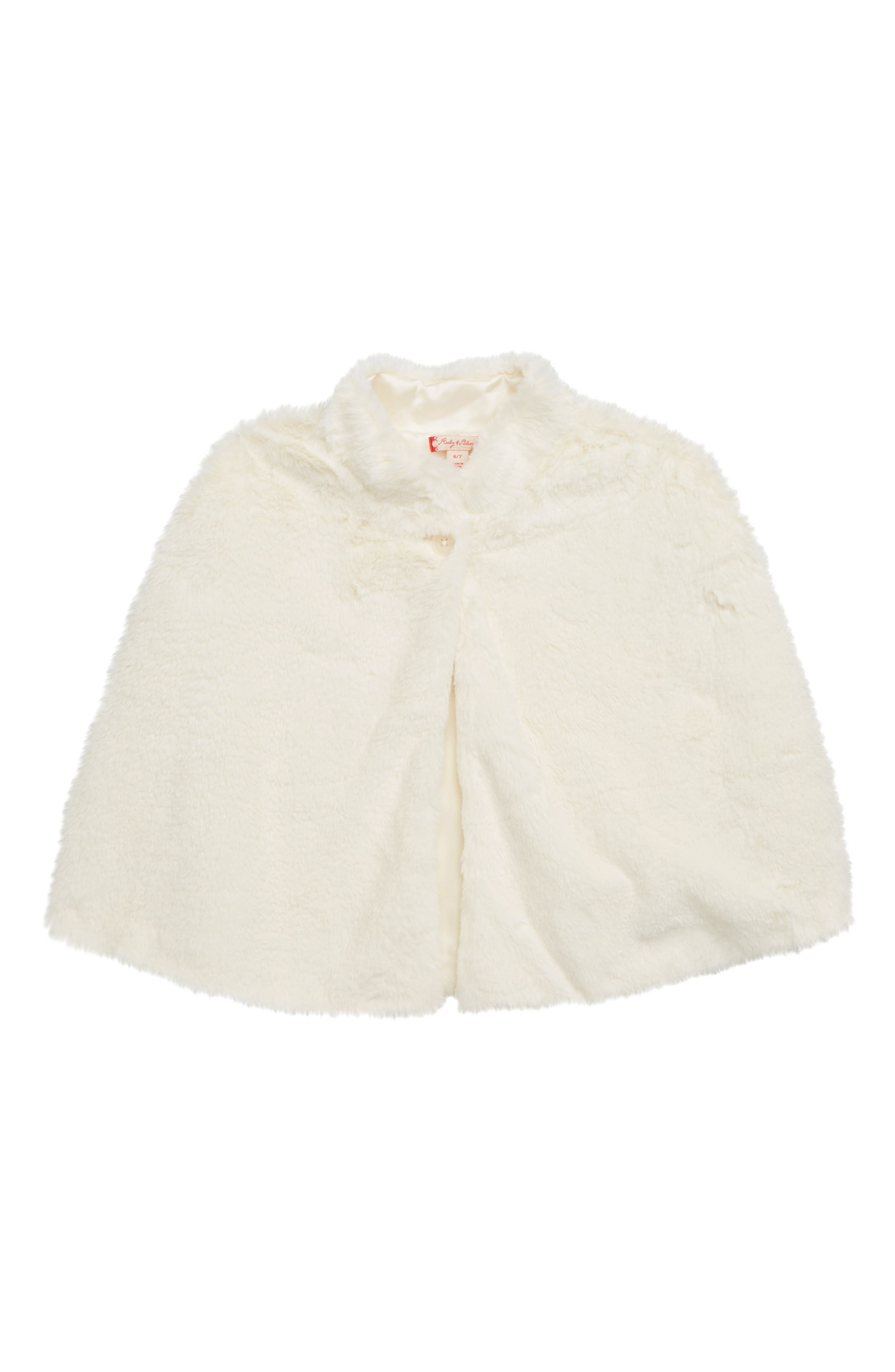 Kids 1950s Clothing & Costumes: Girls, Boys, Toddlers Toddler Girls Ruby  Bloom Faux Fur Cape Size 2-3T - Ivory $55.00 AT vintagedancer.com