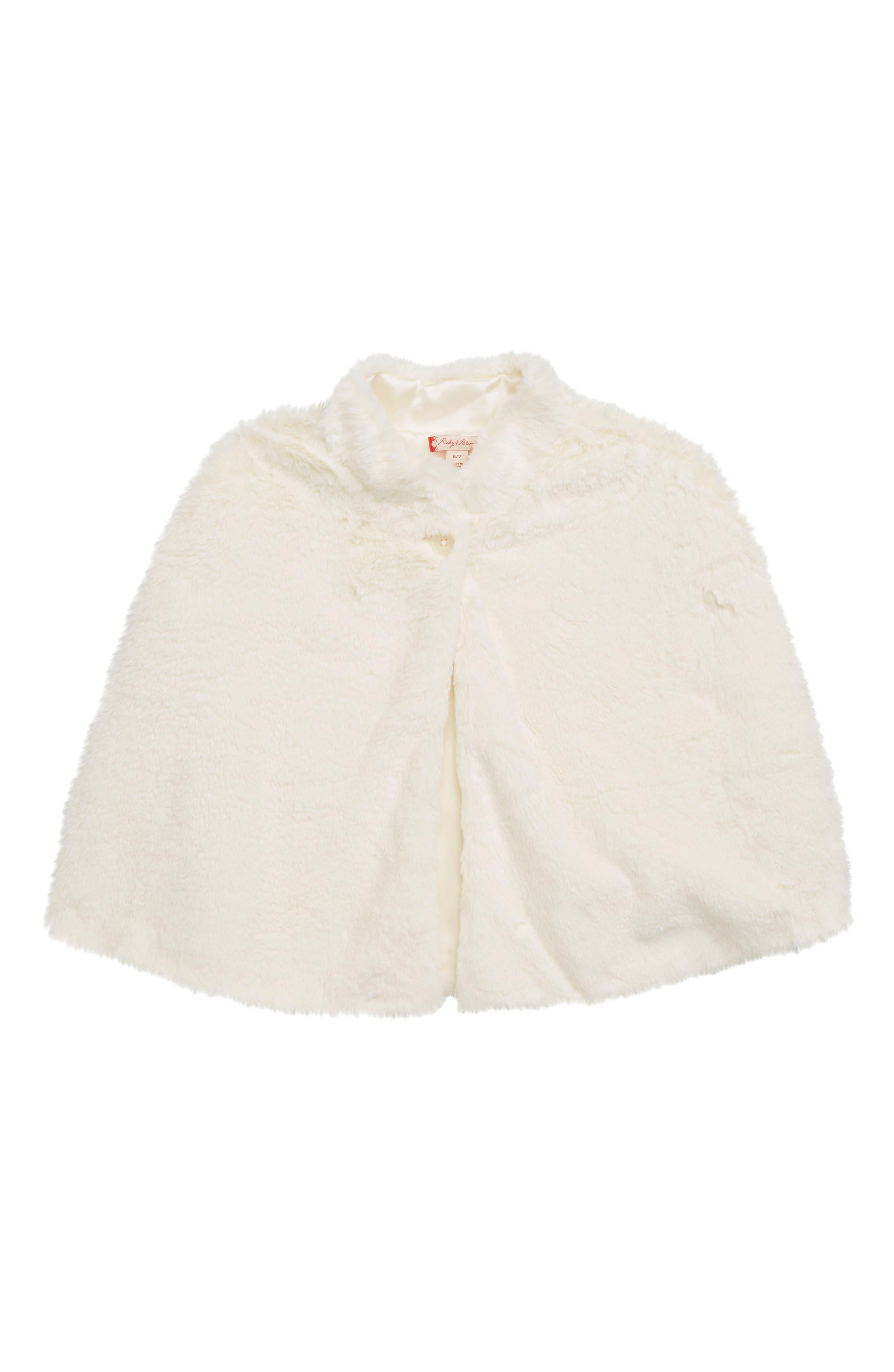 Vintage Style Children's Clothing: Girls, Boys, Baby, Toddler Toddler Girls Ruby  Bloom Faux Fur Cape Size 2-3T - Ivory $32.98 AT vintagedancer.com
