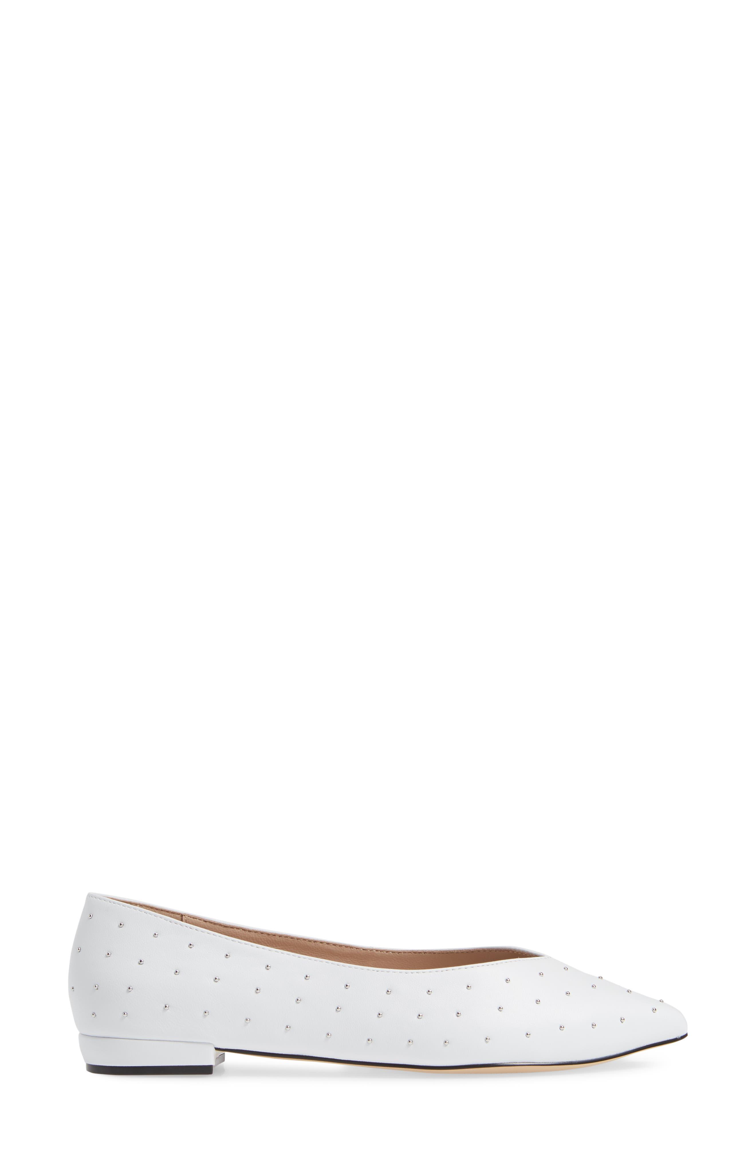 Snbea Studded Flat,                             Alternate thumbnail 4, color,                             WHITE LEATHER