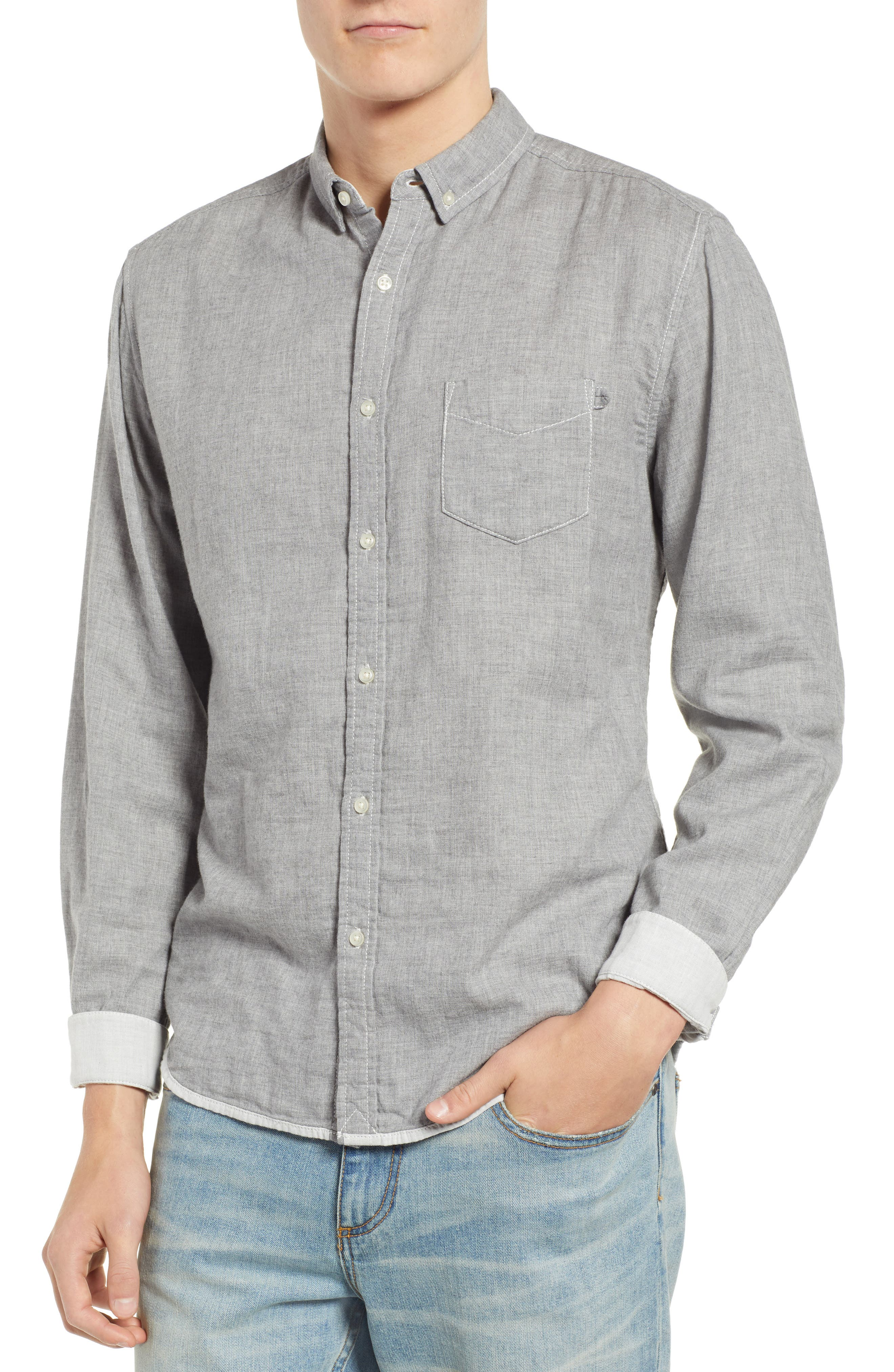 Ithaca Slim Fit Chambray Sport Shirt,                             Main thumbnail 1, color,                             HEATHER GREY