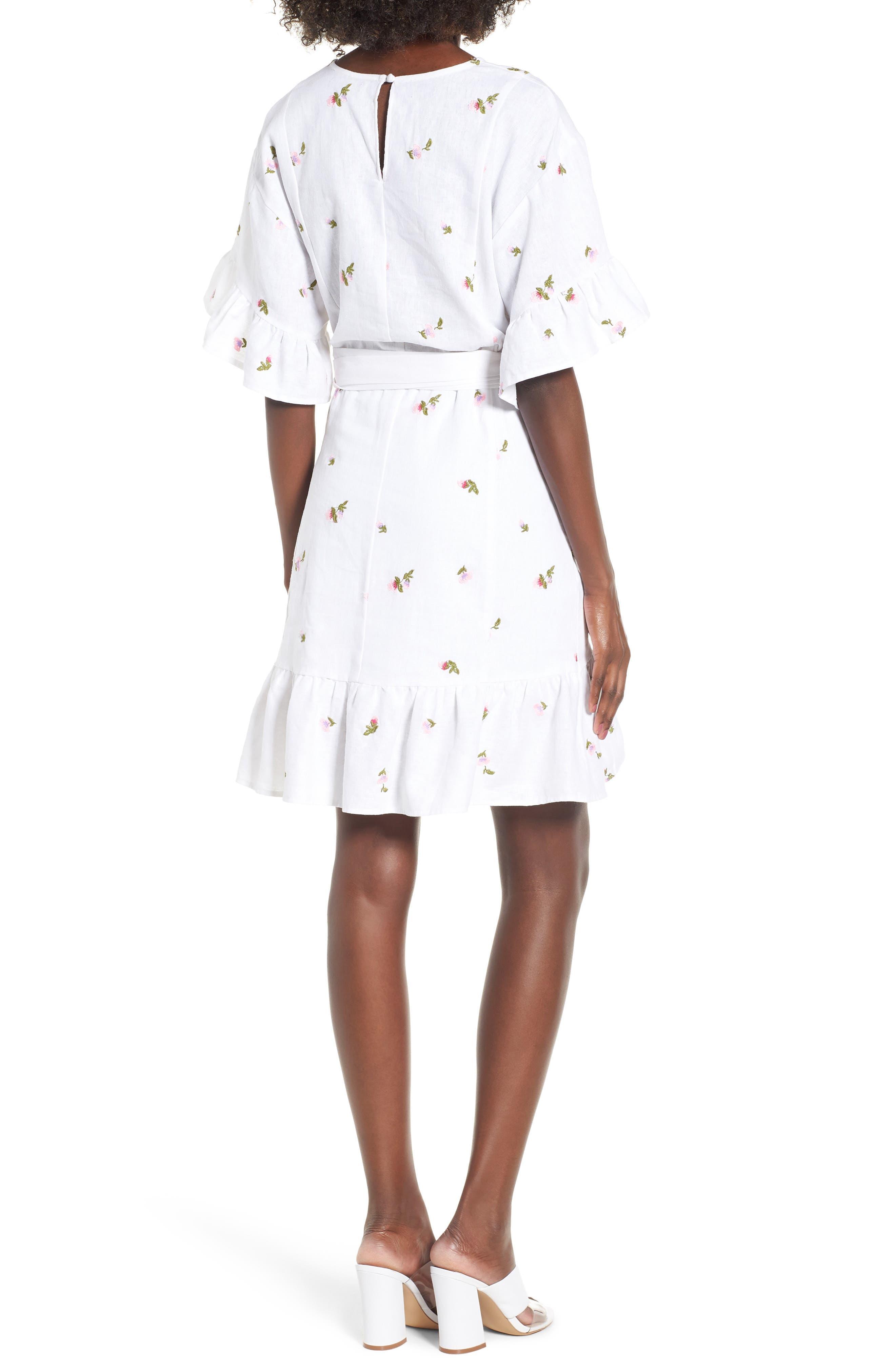 Tokyo Ruffle Sleeve Wrap Dress,                             Alternate thumbnail 2, color,                             DITSY EMBROIDERY