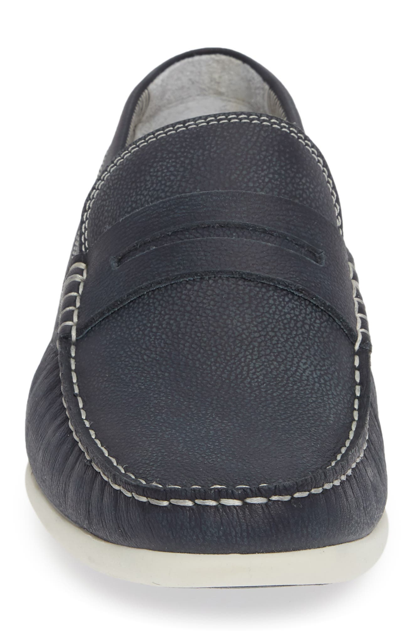 Napa Penny Loafer,                             Alternate thumbnail 4, color,                             NAVY LEATHER