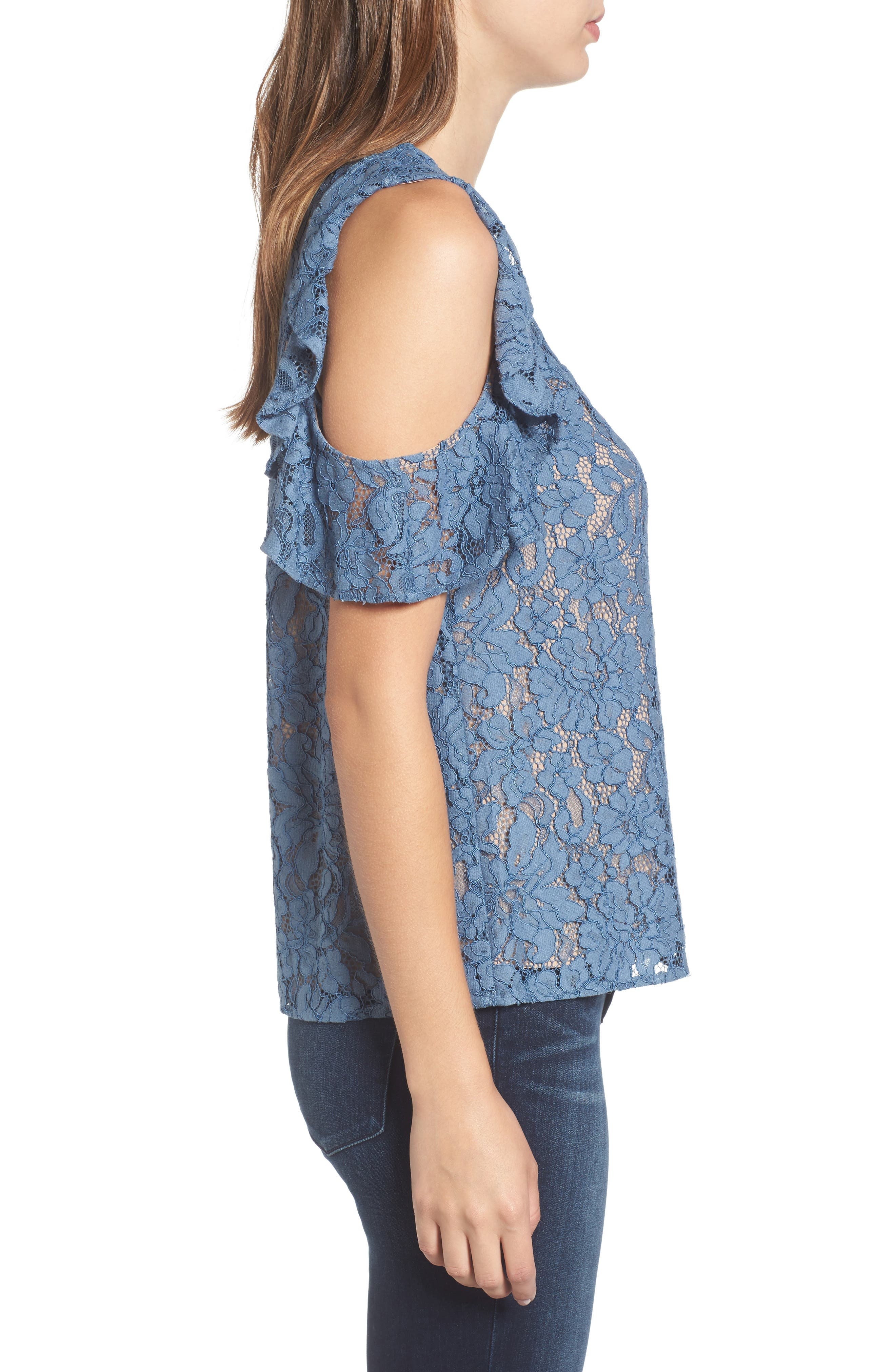 Ryder Ruffle Cold Shoulder Lace Top,                             Alternate thumbnail 3, color,                             400