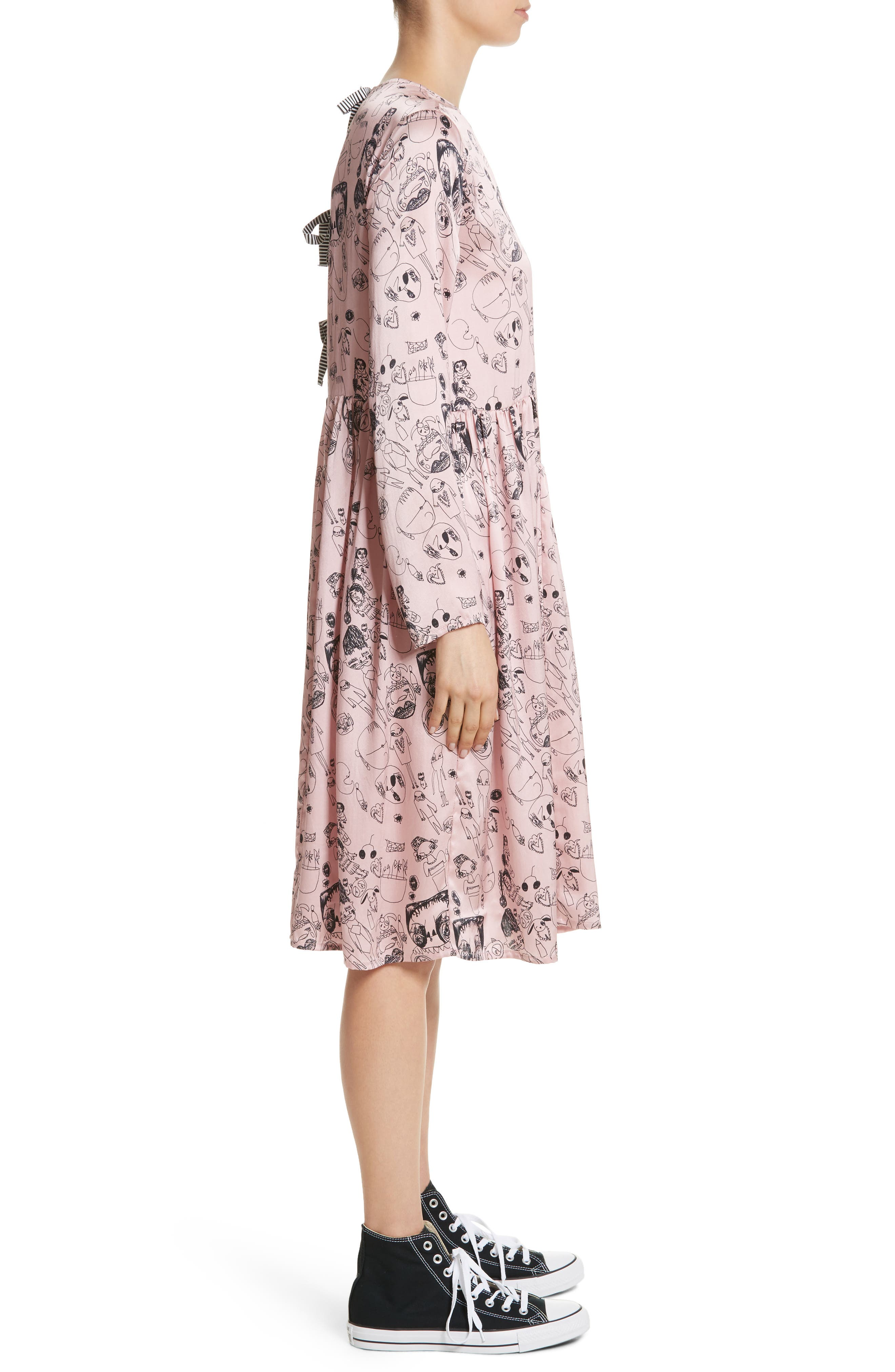 Heather Print Silk Dress,                             Alternate thumbnail 3, color,                             650