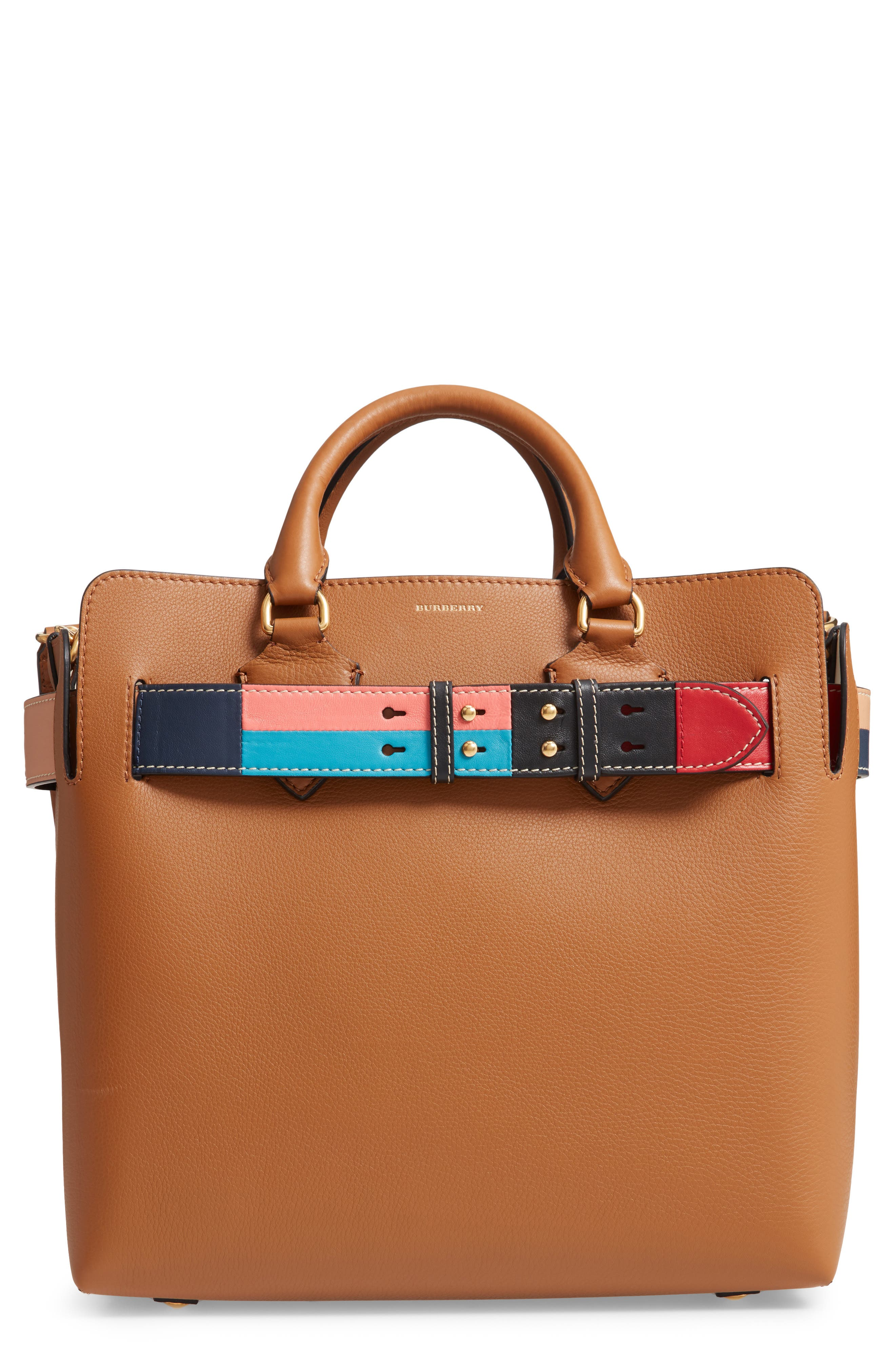 Medium Belt Bag Leather Tote,                             Main thumbnail 1, color,                             COGNAC