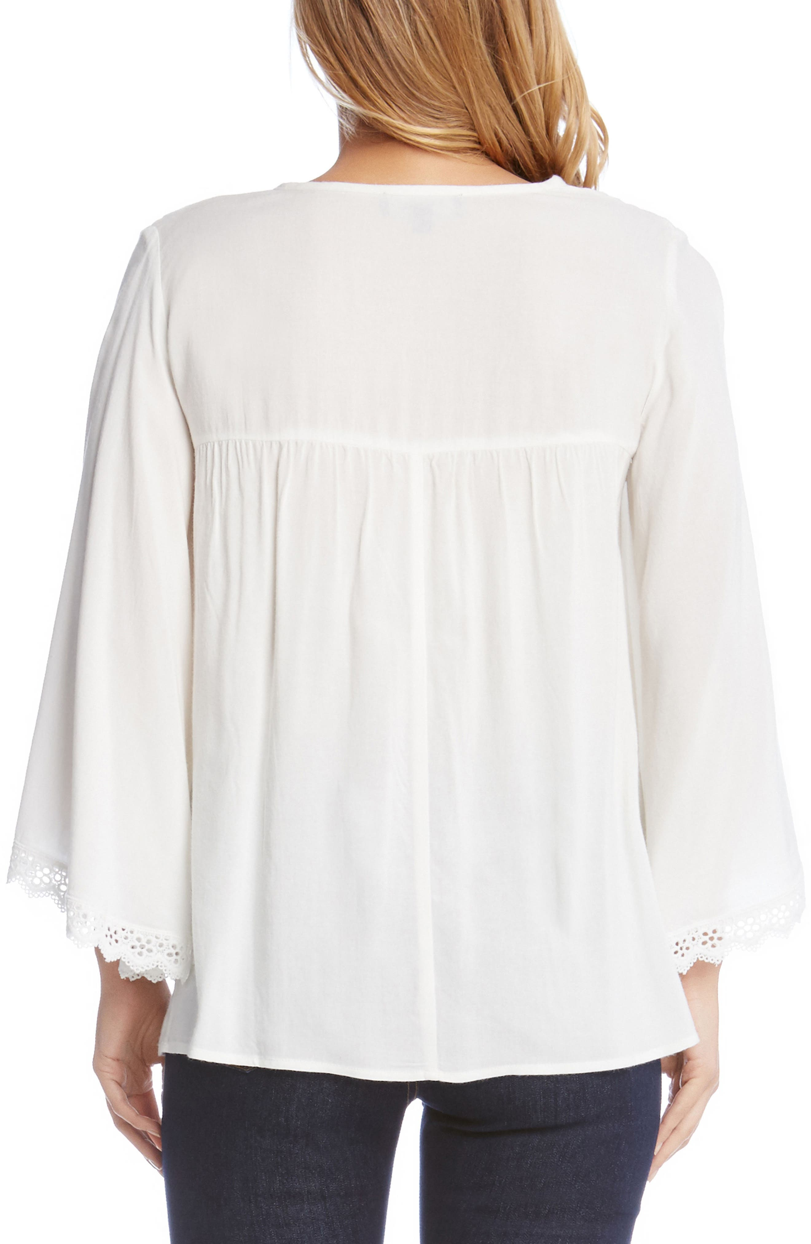 Lace Trim Flare Sleeve Top,                             Alternate thumbnail 2, color,                             101