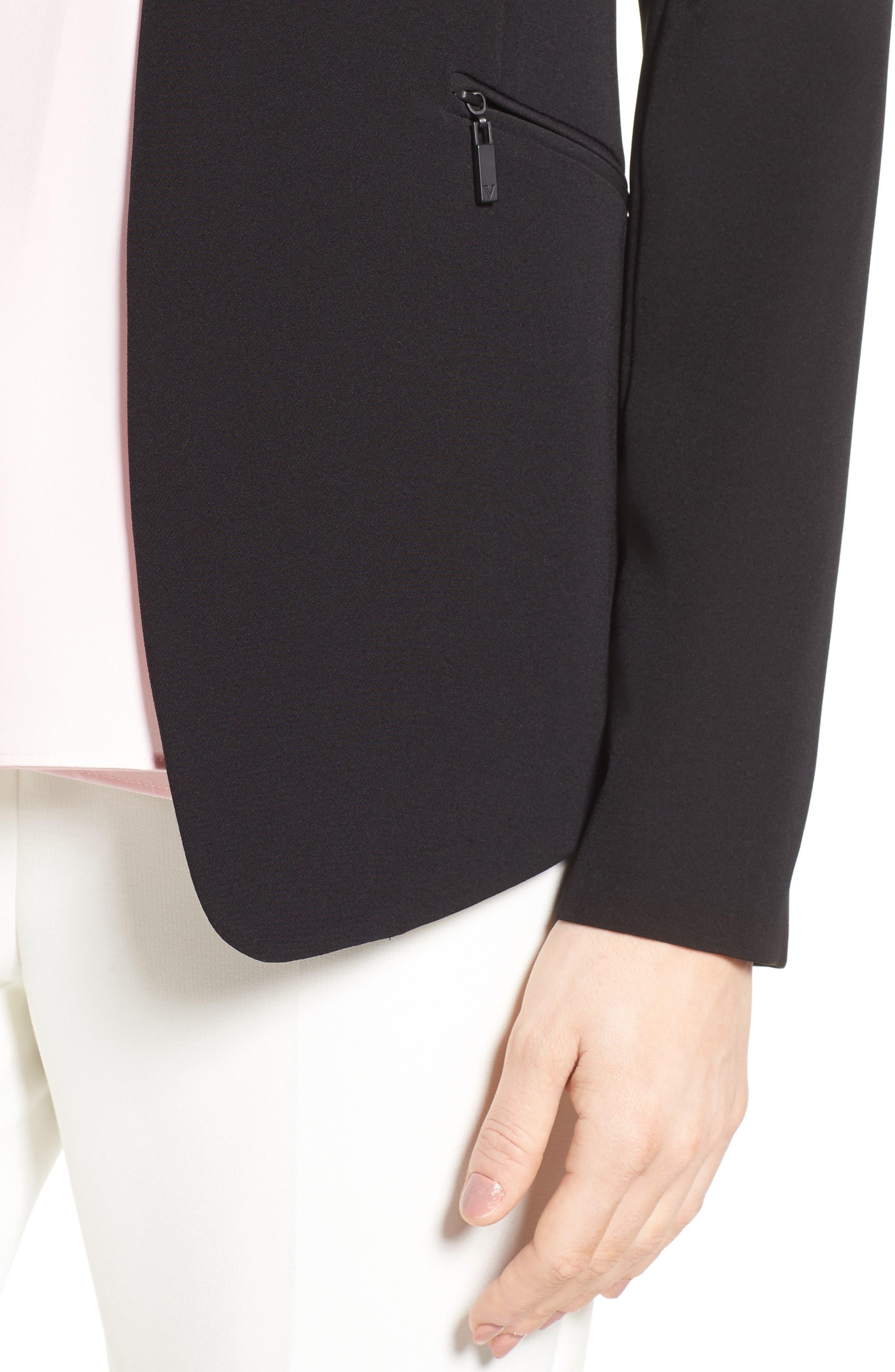 Zip Pocket Blazer,                             Alternate thumbnail 4, color,                             RICH BLACK