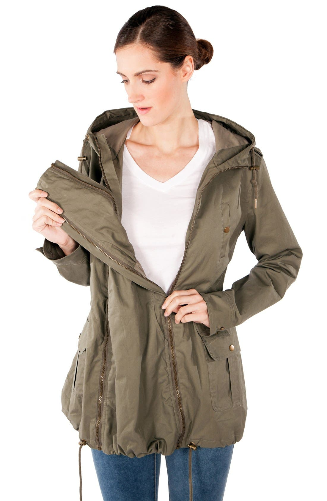 Convertible Military 3-in-1 Maternity/Nursing Jacket,                             Alternate thumbnail 9, color,                             KHAKI GREEN