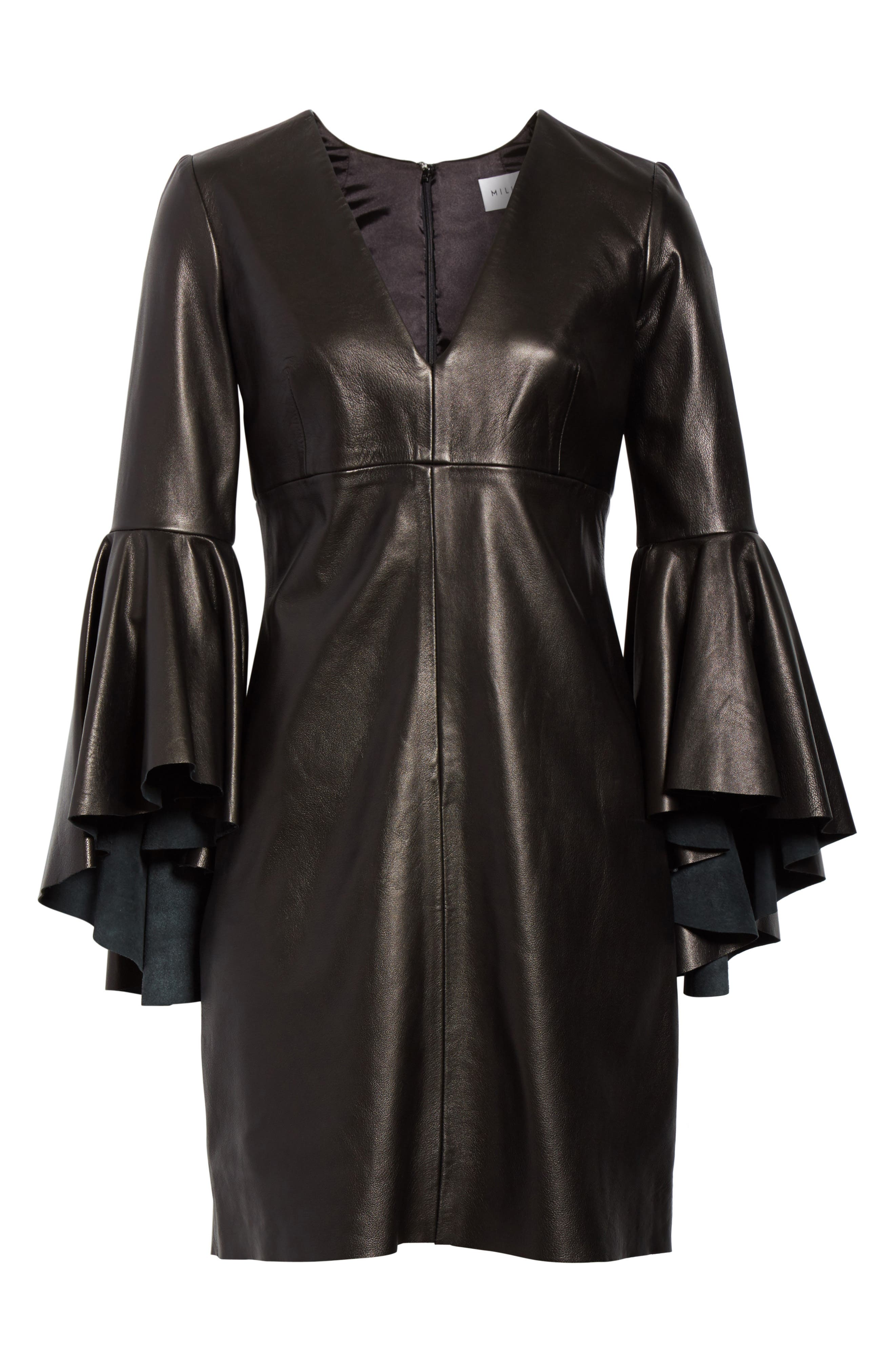 Bell Sleeve Leather Dress,                             Alternate thumbnail 6, color,                             001
