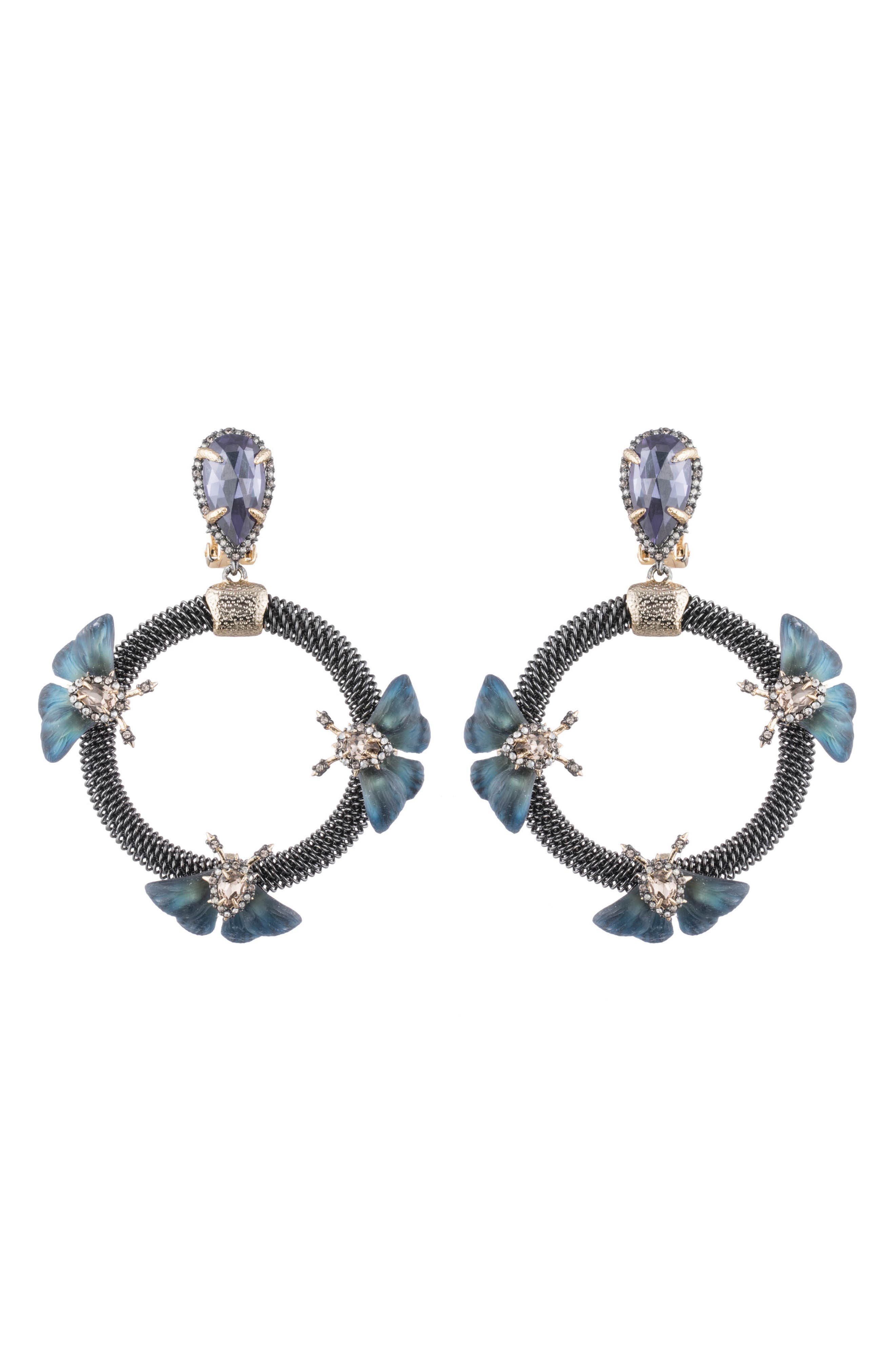 Brutalist Butterfly Crystal Clip-On Earrings in Dh Wing Print