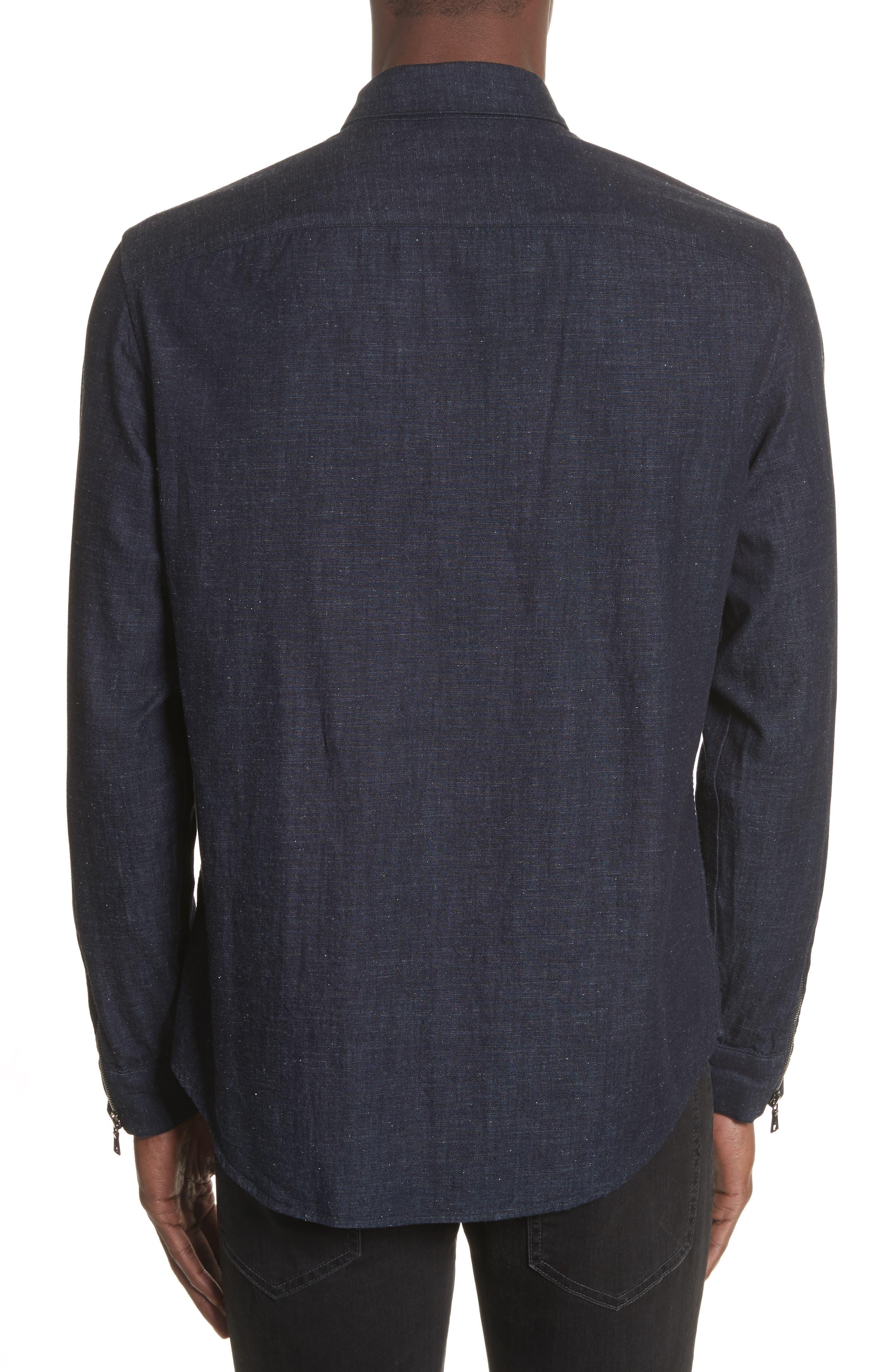 Cotton Blend Zip Shirt,                             Alternate thumbnail 2, color,                             410