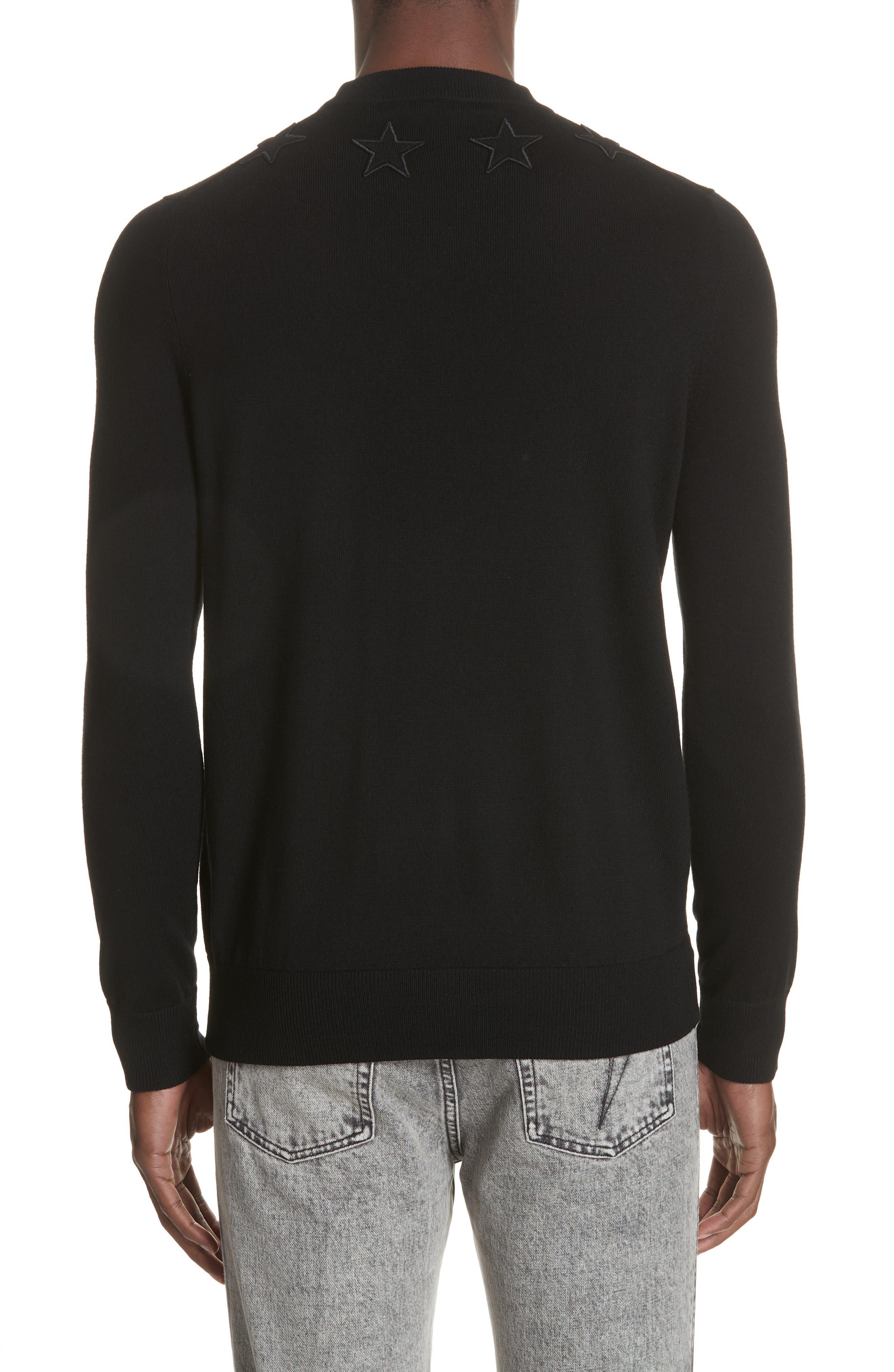 Tonal Star Wool Sweater,                             Alternate thumbnail 2, color,                             BLACK