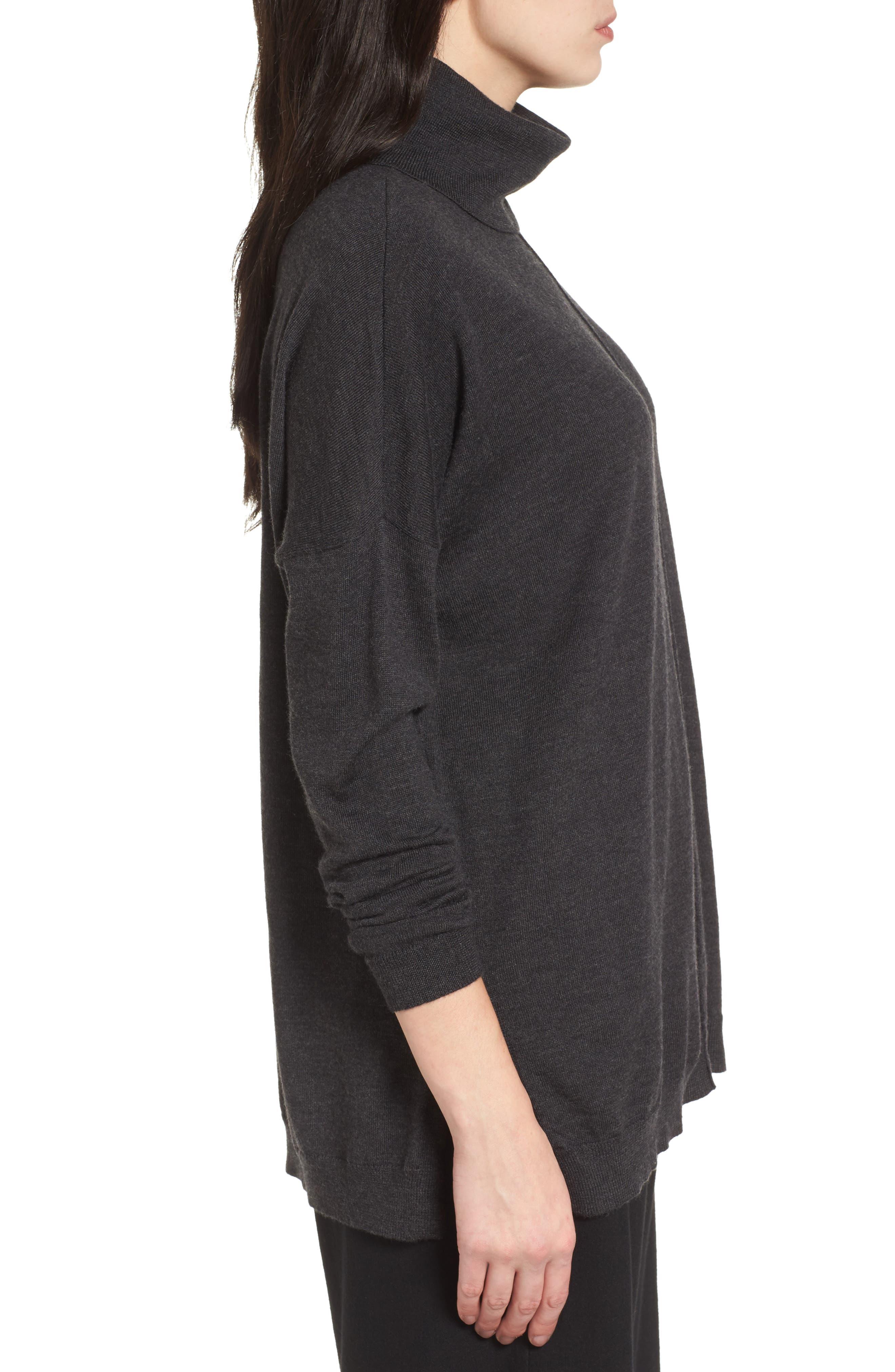 Merino Wool Boxy Turtleneck Sweater,                             Alternate thumbnail 3, color,                             021