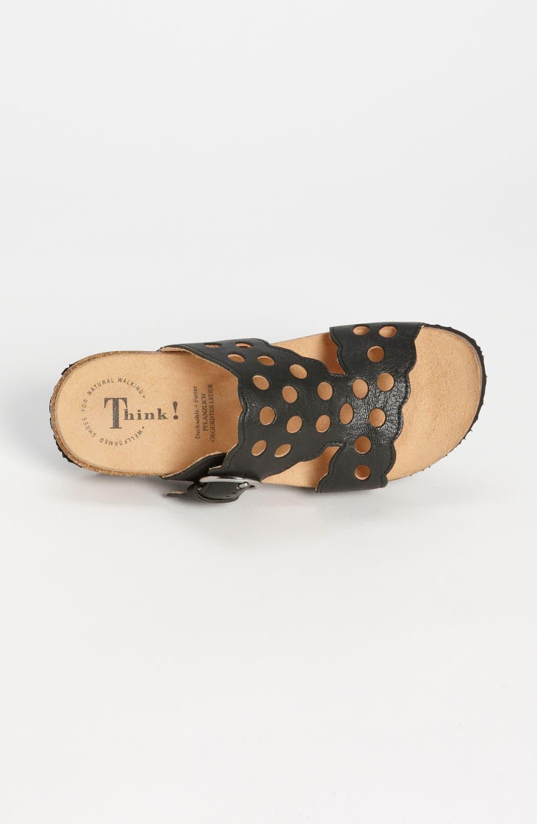 'Mizzi' T-Strap Sandal,                             Alternate thumbnail 3, color,                             BLACK LEATHER