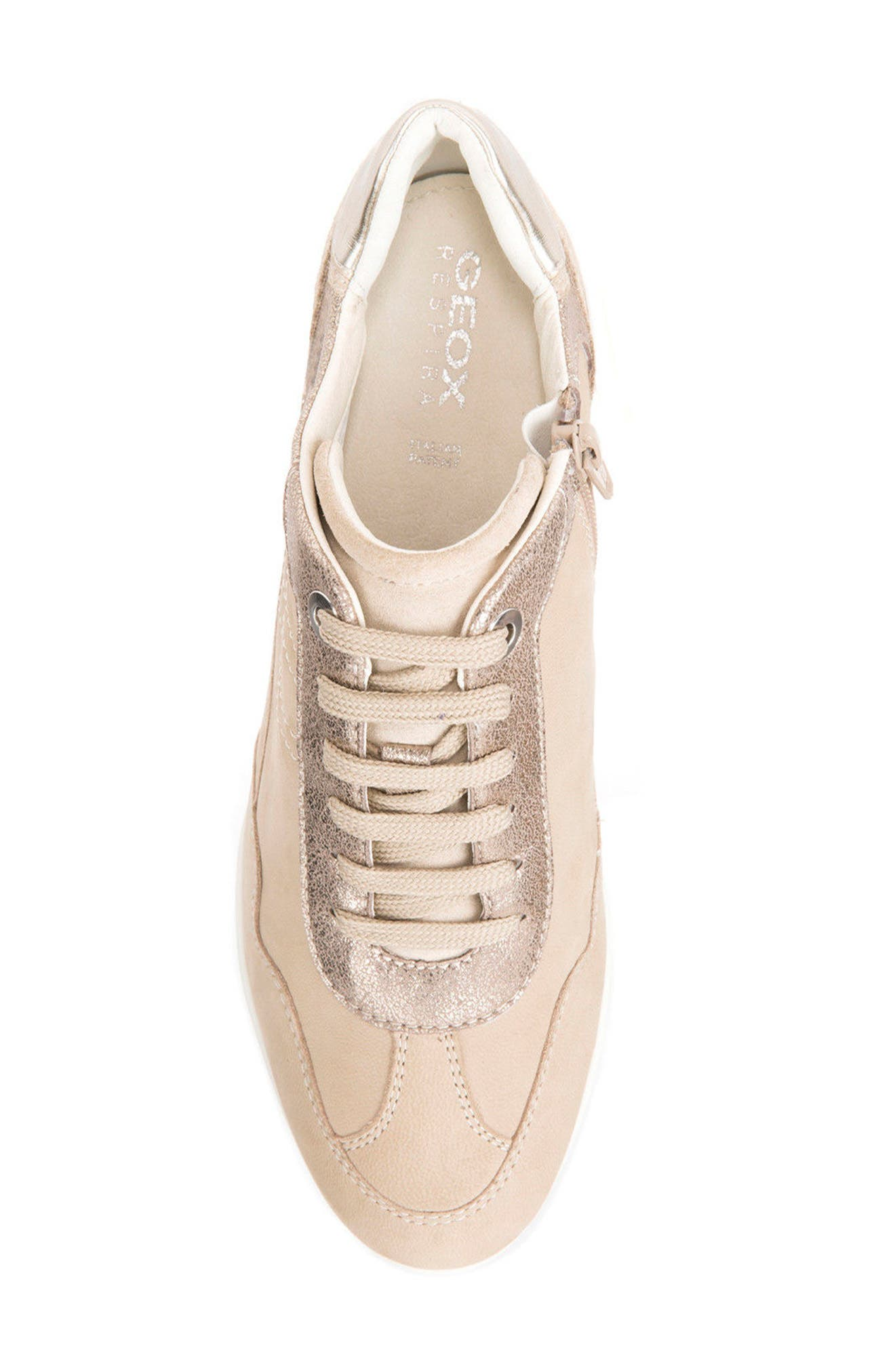 Illusion 34 Wedge Sneaker,                             Alternate thumbnail 5, color,                             SAND LEATHER