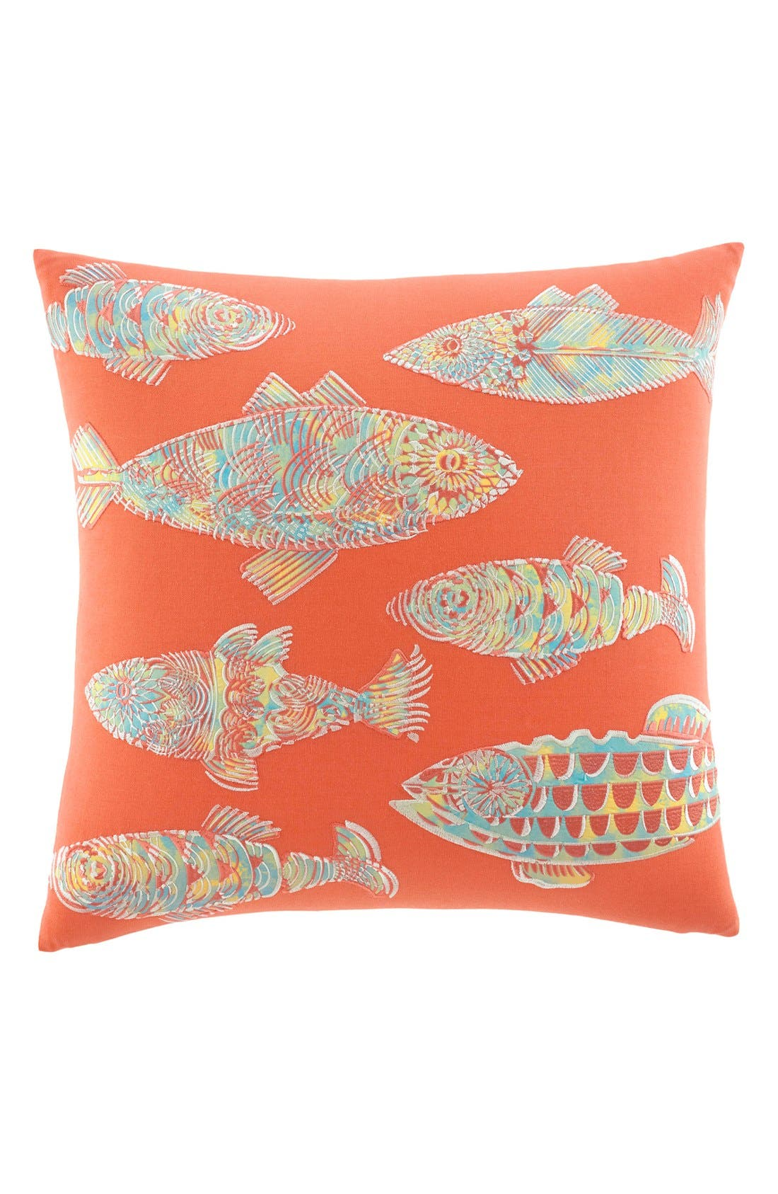'Batic Fish' Pillow,                             Main thumbnail 1, color,                             CORAL/ MULTI