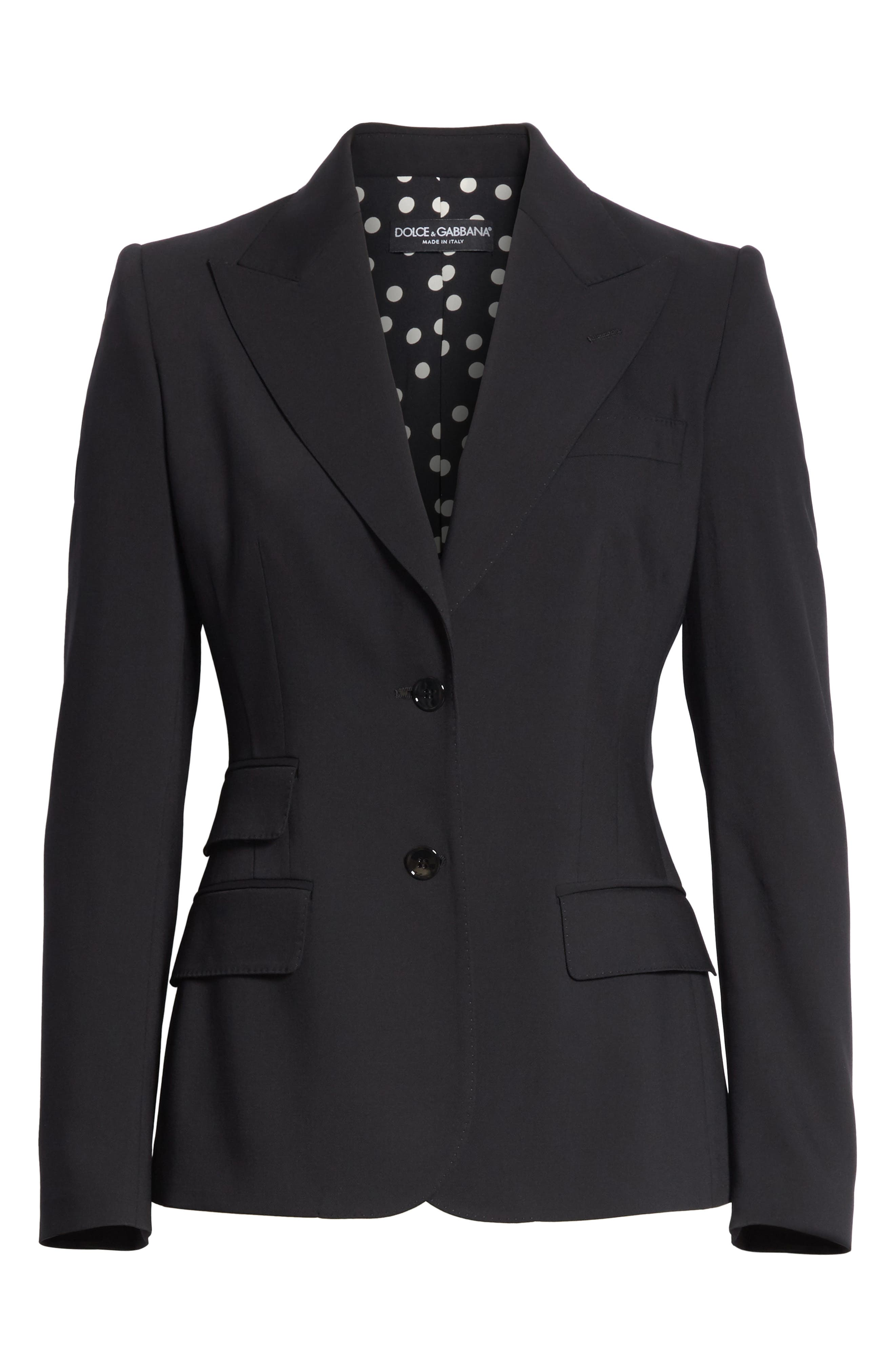 Two Button Stretch Wool Jacket,                             Alternate thumbnail 6, color,                             BLACK