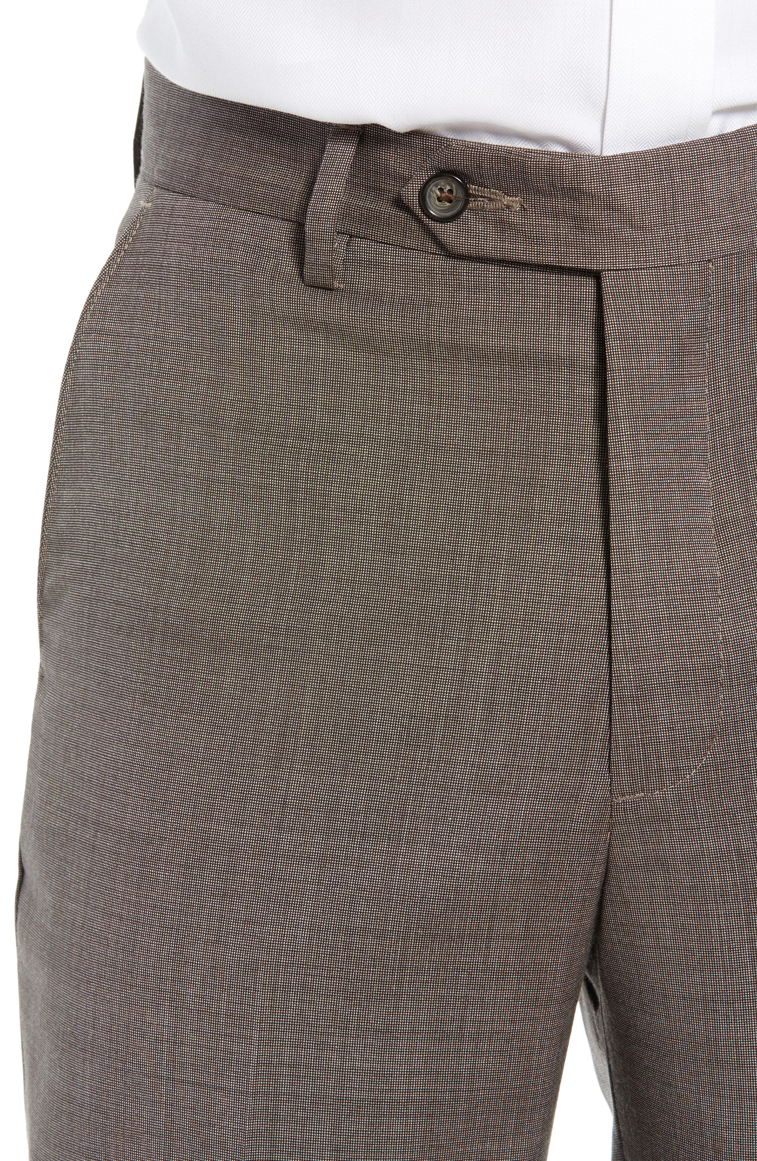 Manufacturing Flat Front Wool Trousers,                             Alternate thumbnail 4, color,                             BROWN