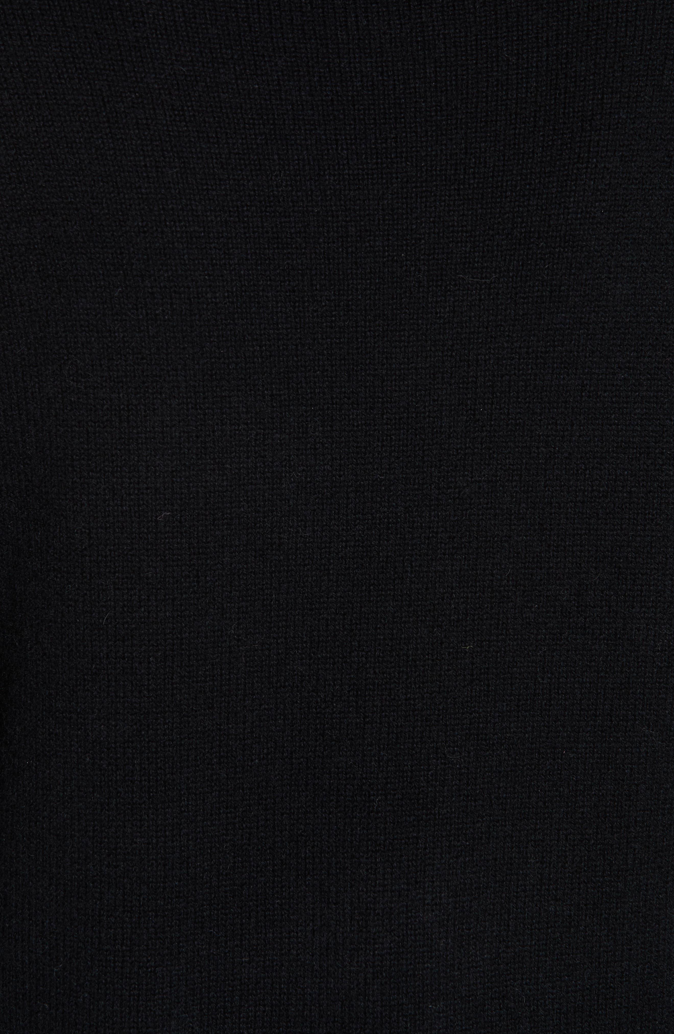 Funnel Neck Cashmere Sweater,                             Alternate thumbnail 5, color,                             BLACK