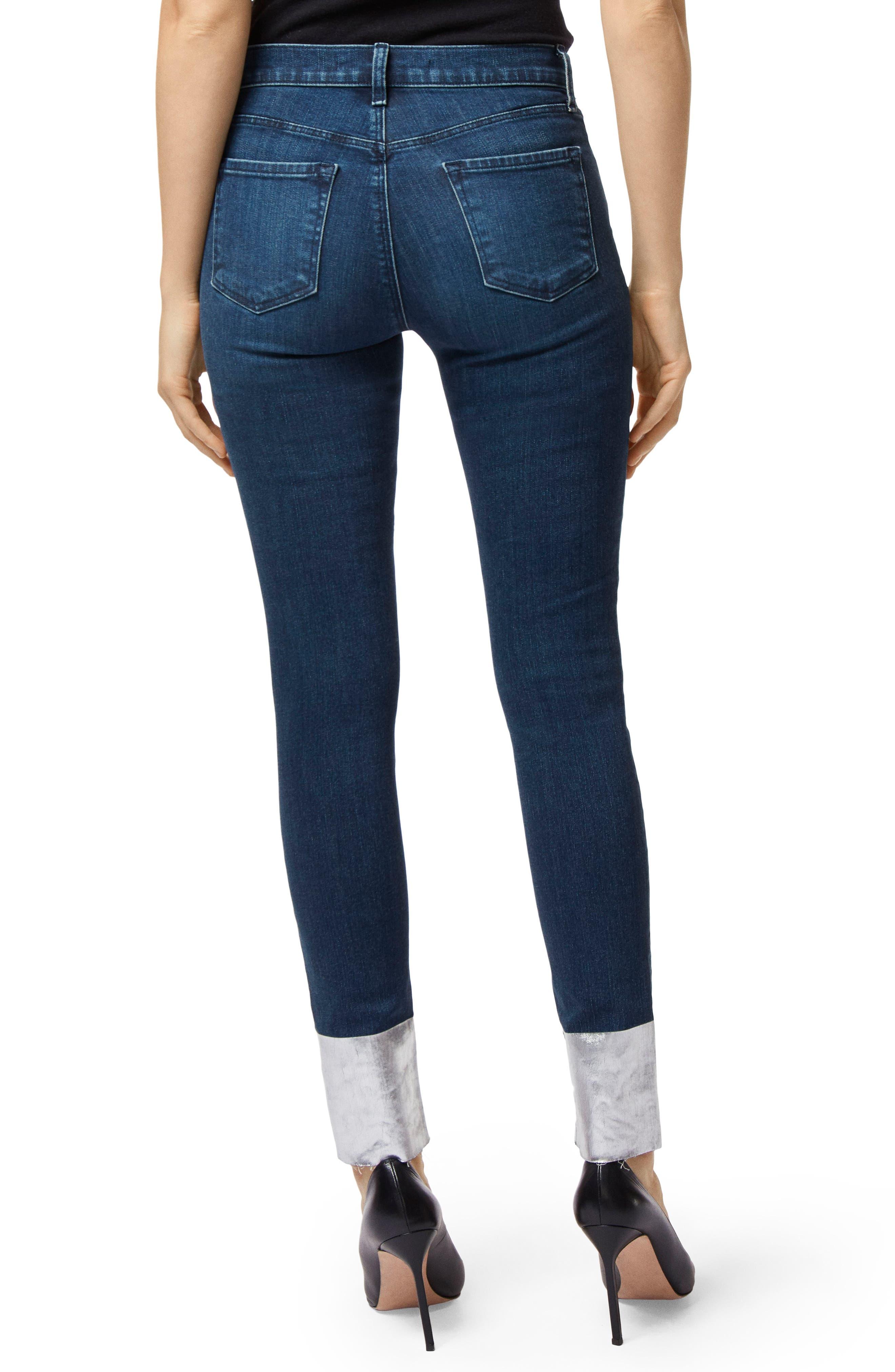 '811' Cutoff Step Hem Skinny Jeans,                             Alternate thumbnail 2, color,                             SILVER POOL