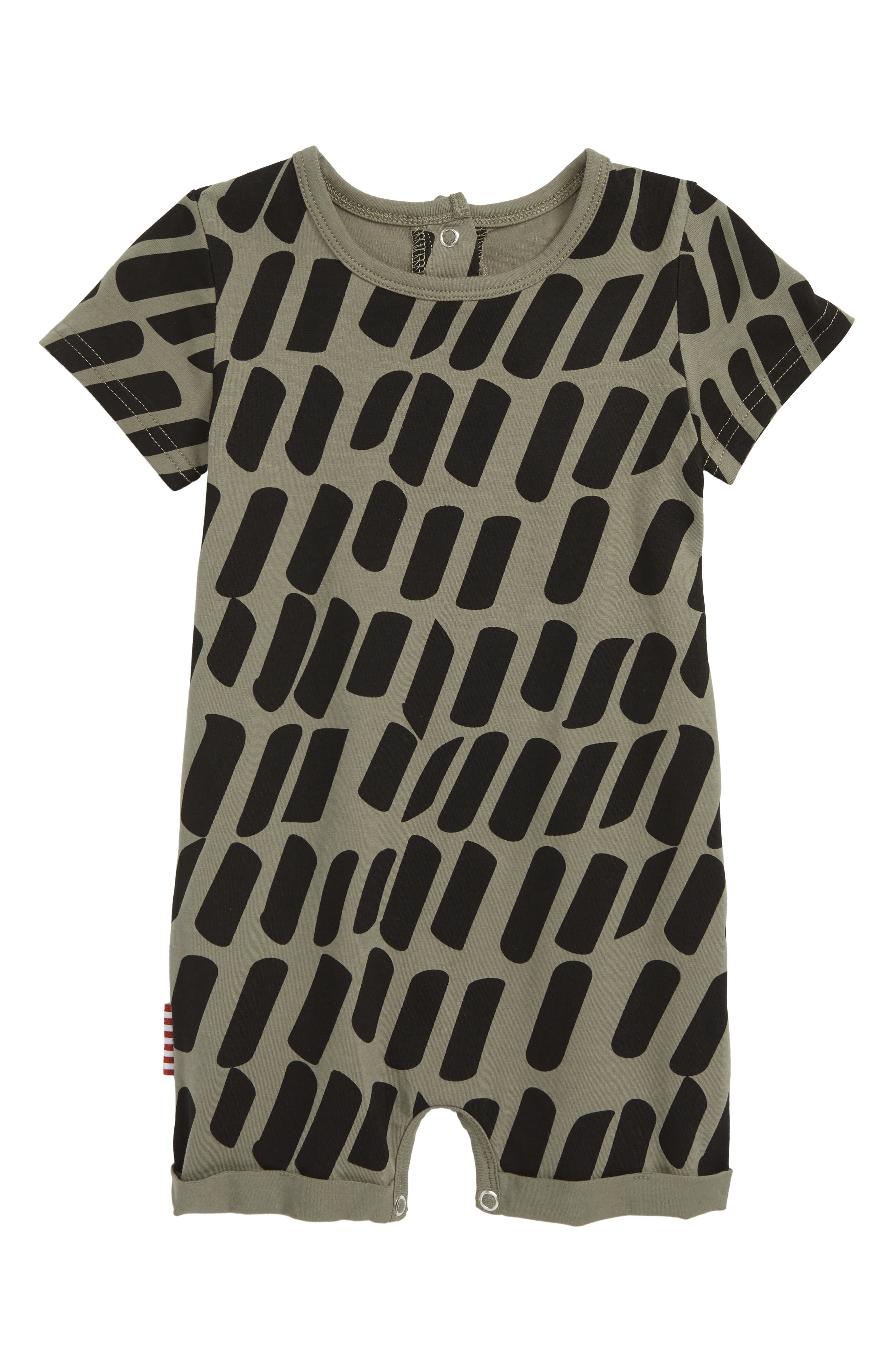 Graphic Romper,                             Main thumbnail 1, color,                             KHAKI
