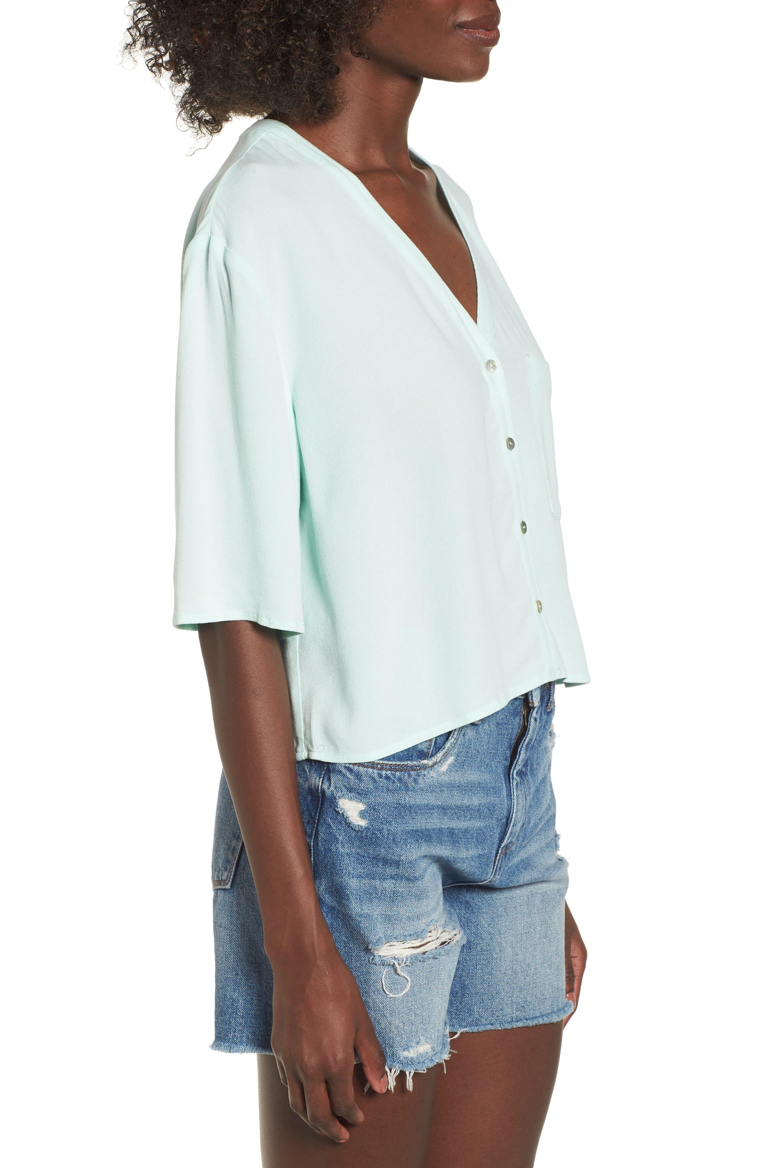 Crepe Button Front Shirt,                             Alternate thumbnail 3, color,                             300