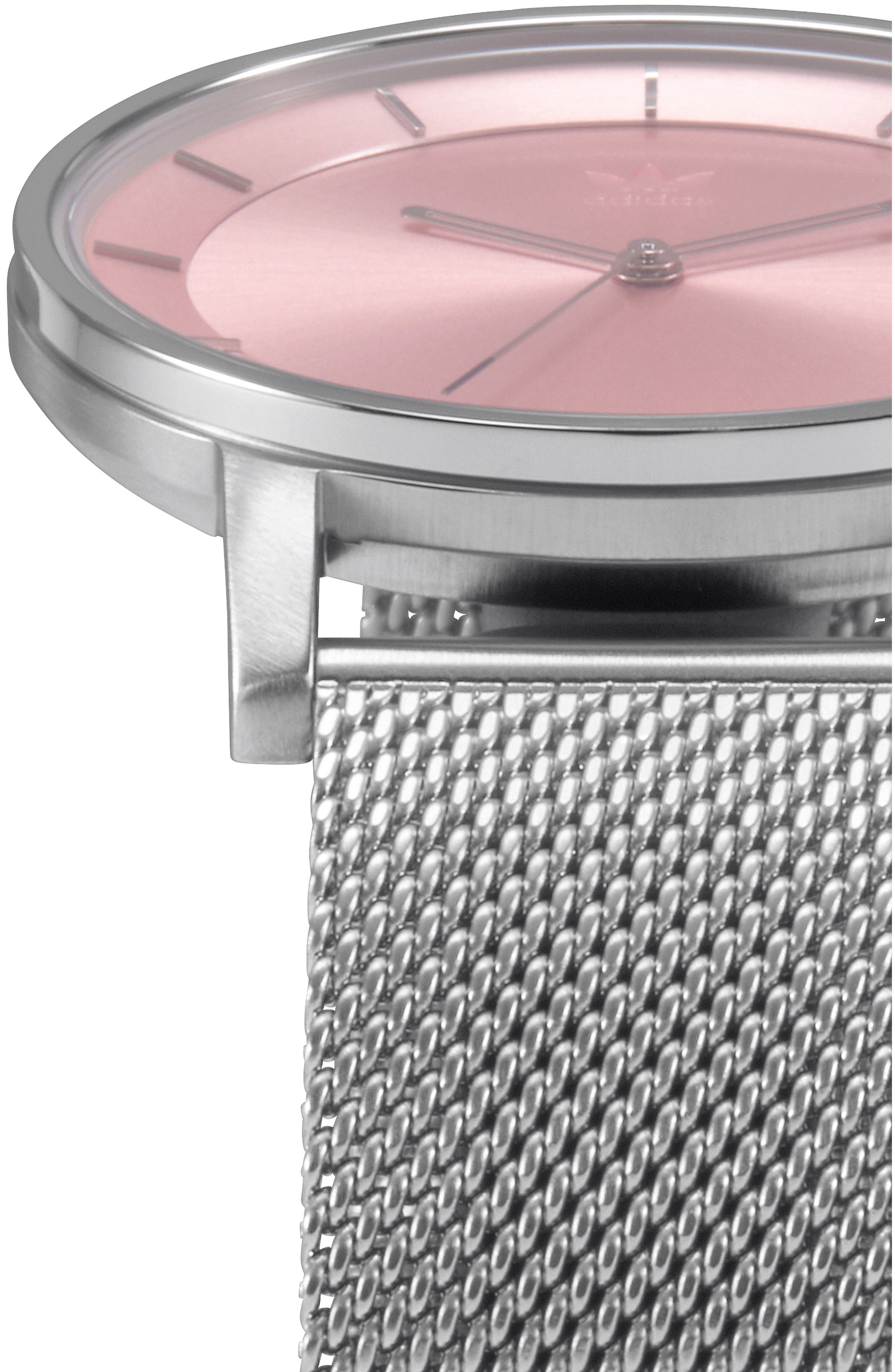 District Milanese Bracelet Watch, 40mm,                             Alternate thumbnail 4, color,                             SILVER/ PINK/ SILVER