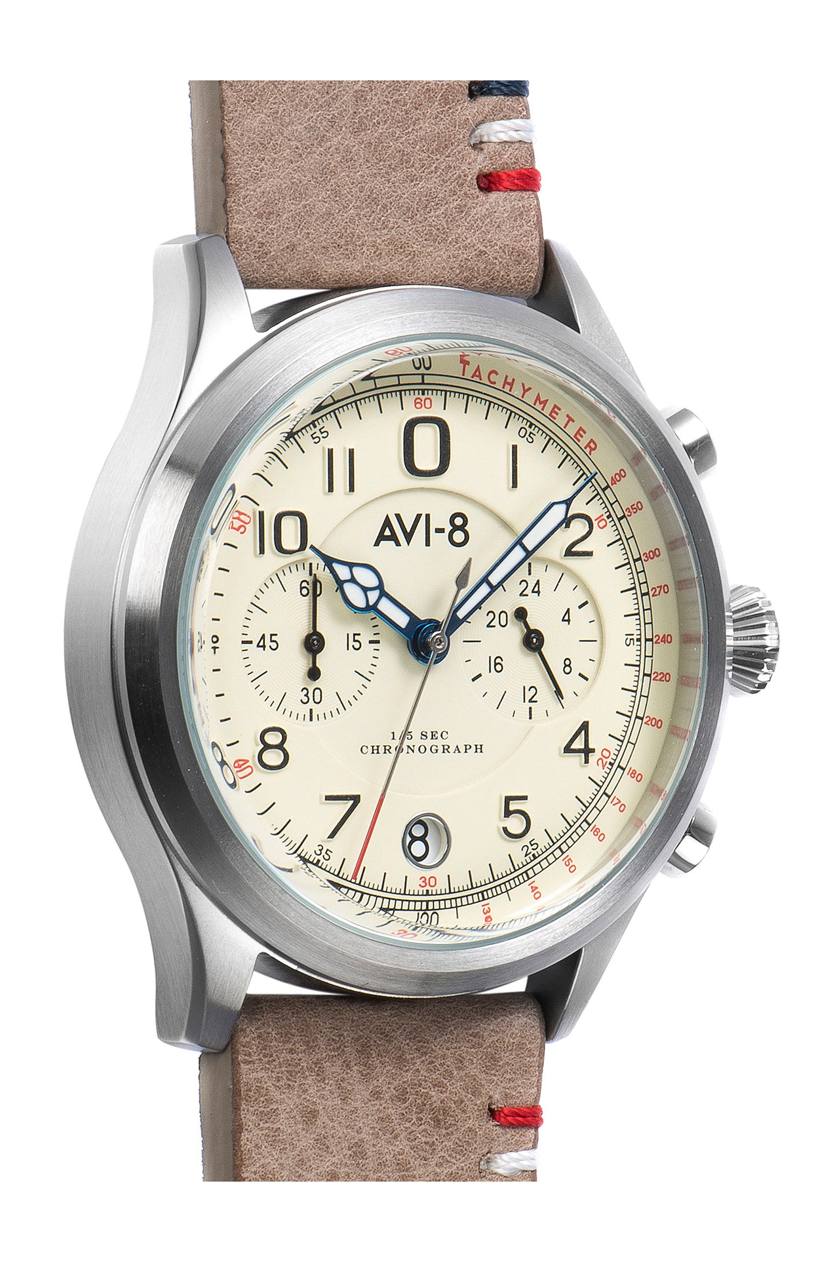 Flyboy Lafayette Chronograph Leather Strap Watch, 43mm,                             Alternate thumbnail 3, color,                             250