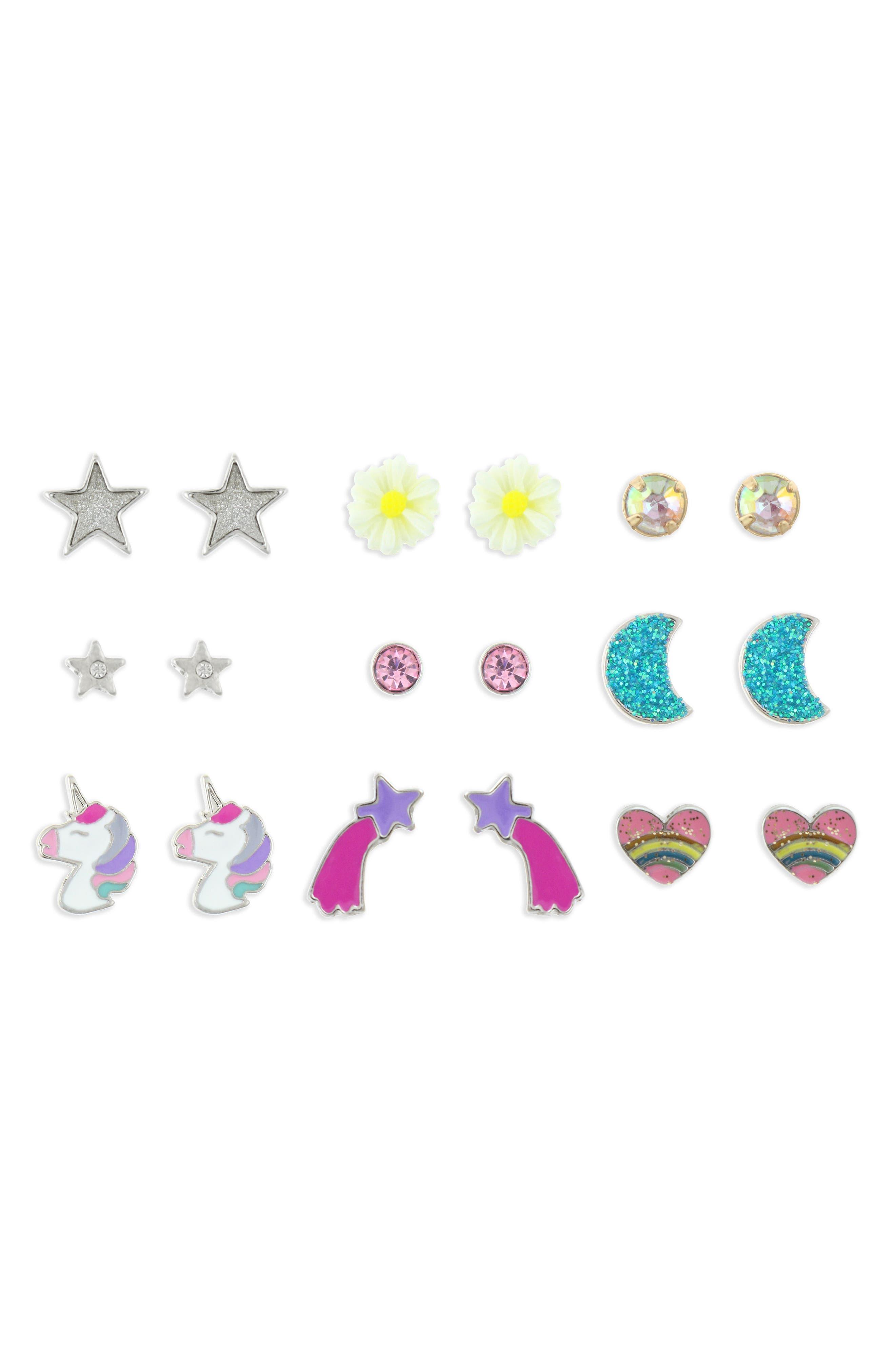 9-Pack Earring Set,                             Alternate thumbnail 4, color,                             SILVER MULTI