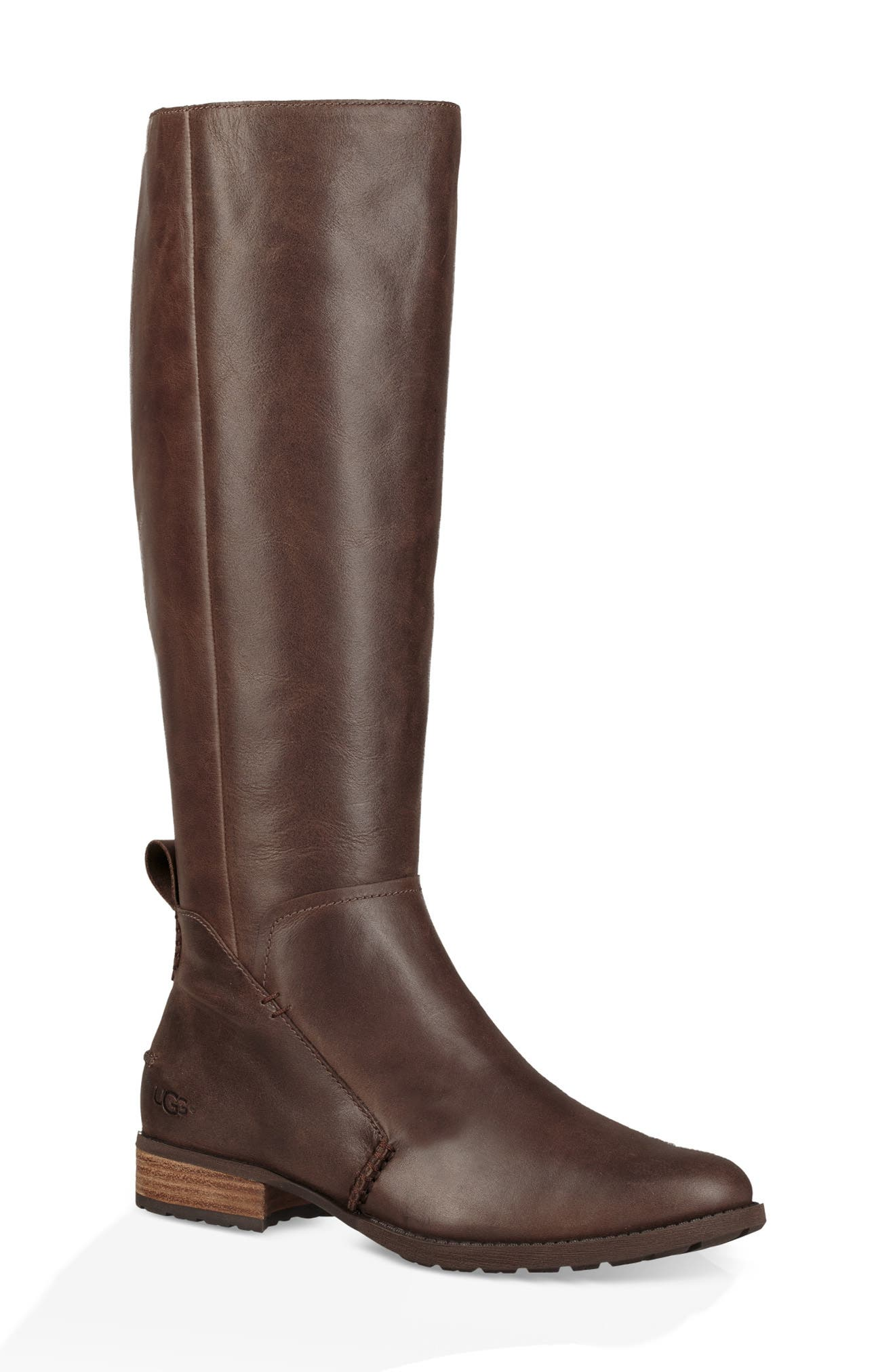 Leigh Knee High Riding Boot,                             Main thumbnail 1, color,                             DARK BROWN LEATHER